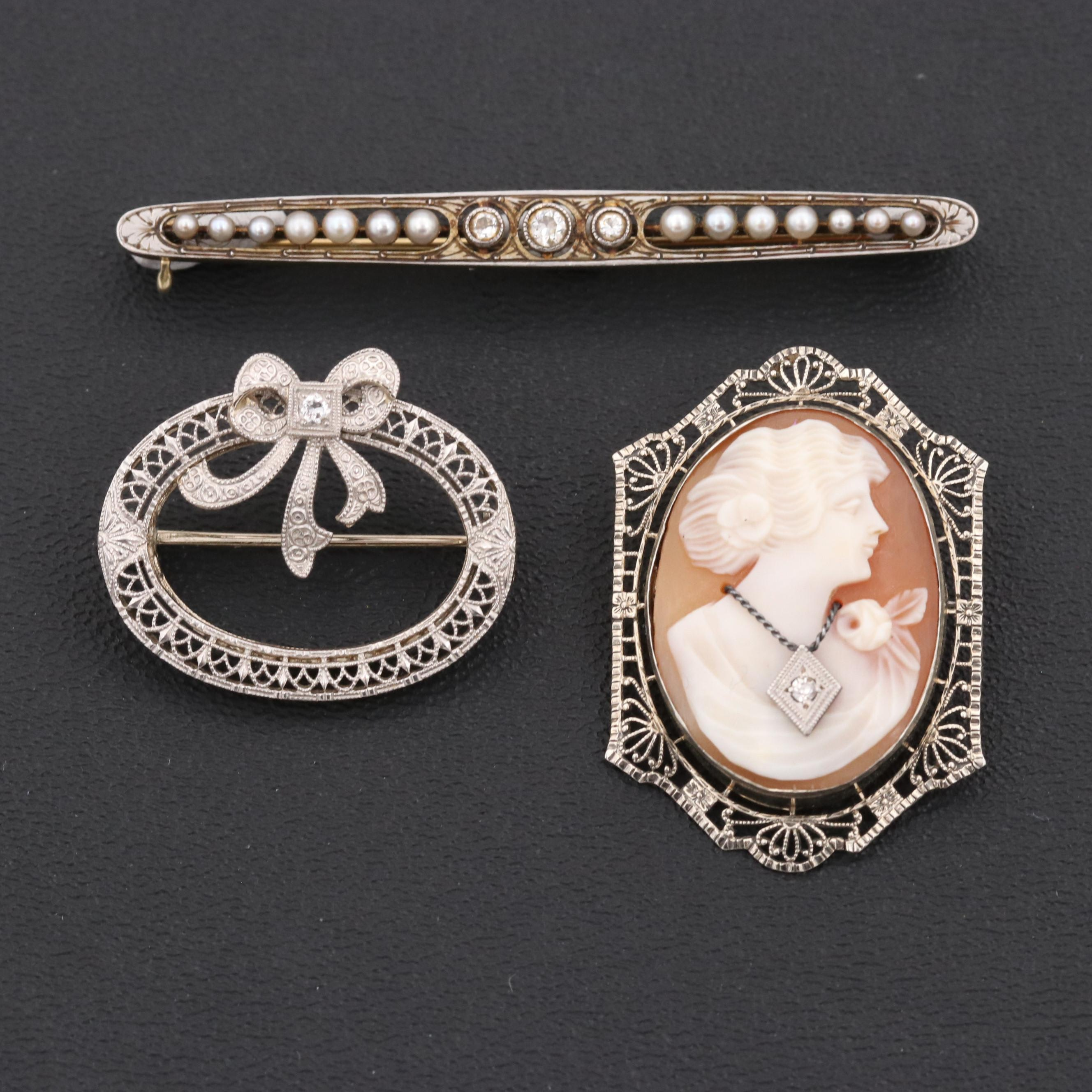 Vintage 14K, 18K Gold and Platinum Brooches Featuring Habillè Cameo and Diamonds