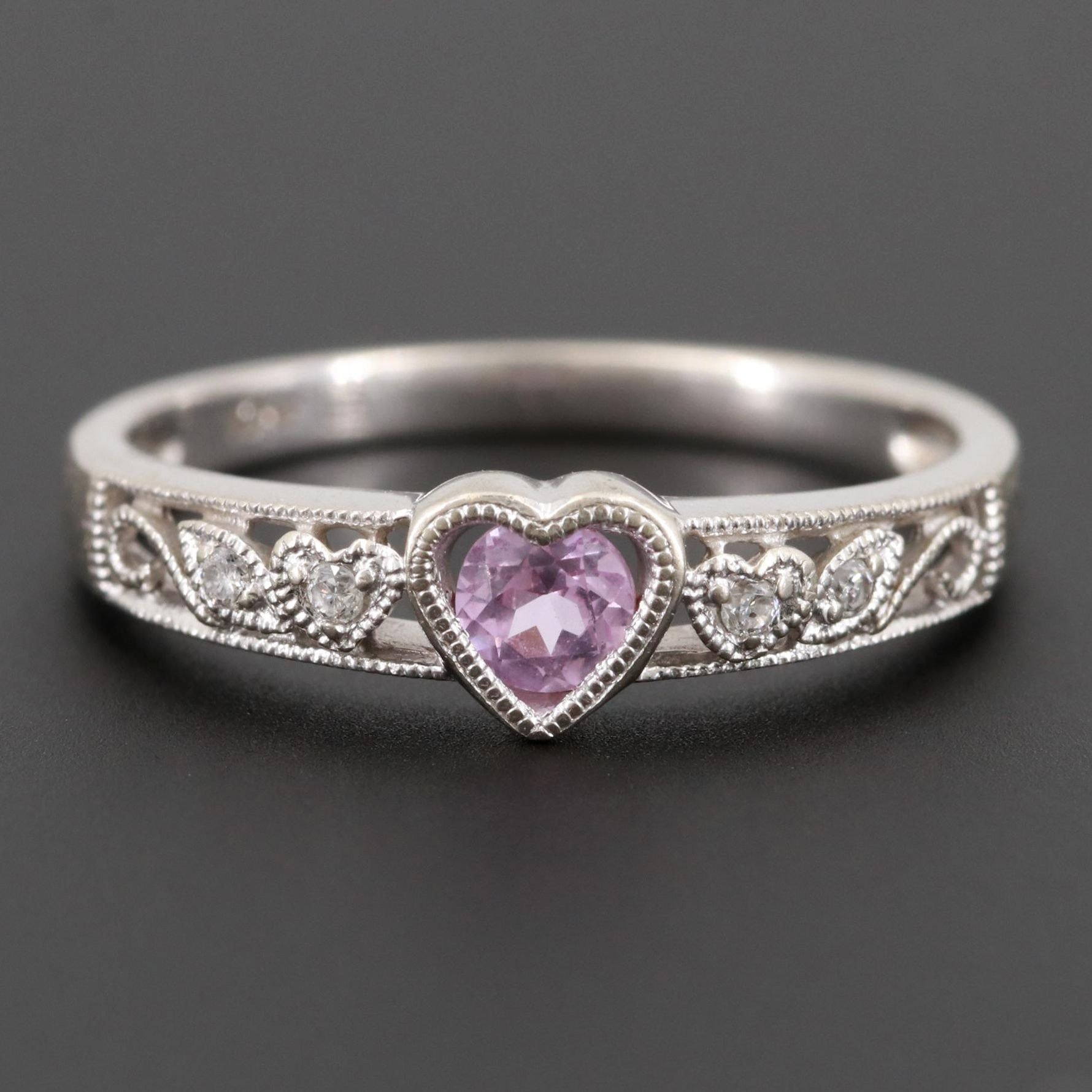 10K White Gold Synthetic Pink Sapphire and Diamond Heart Motif Ring