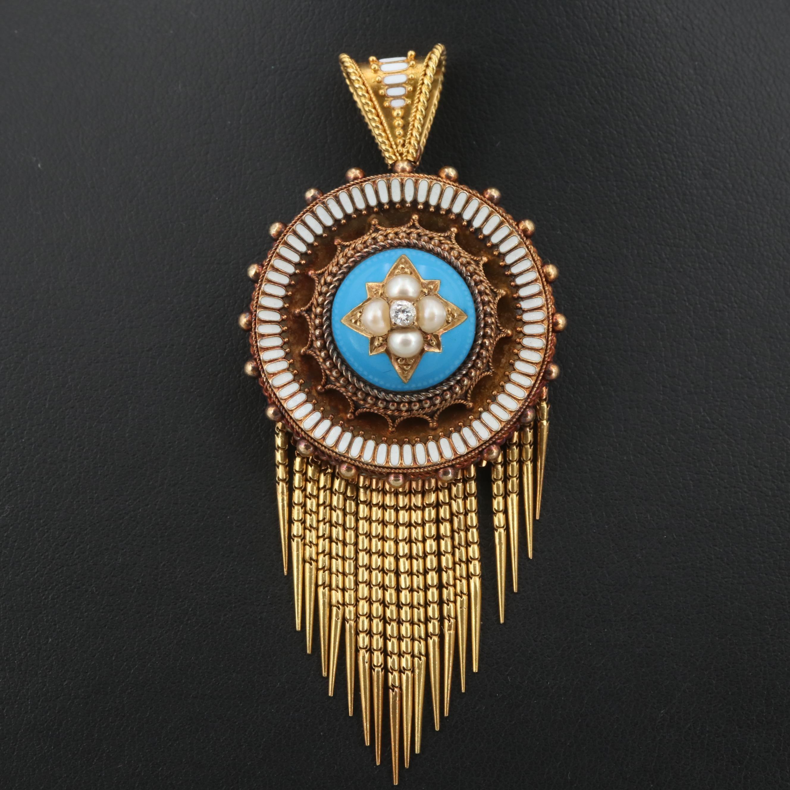 Victorian Etruscan Revival 18K Gold Seed Pearl, Diamond and Enamel Pendant