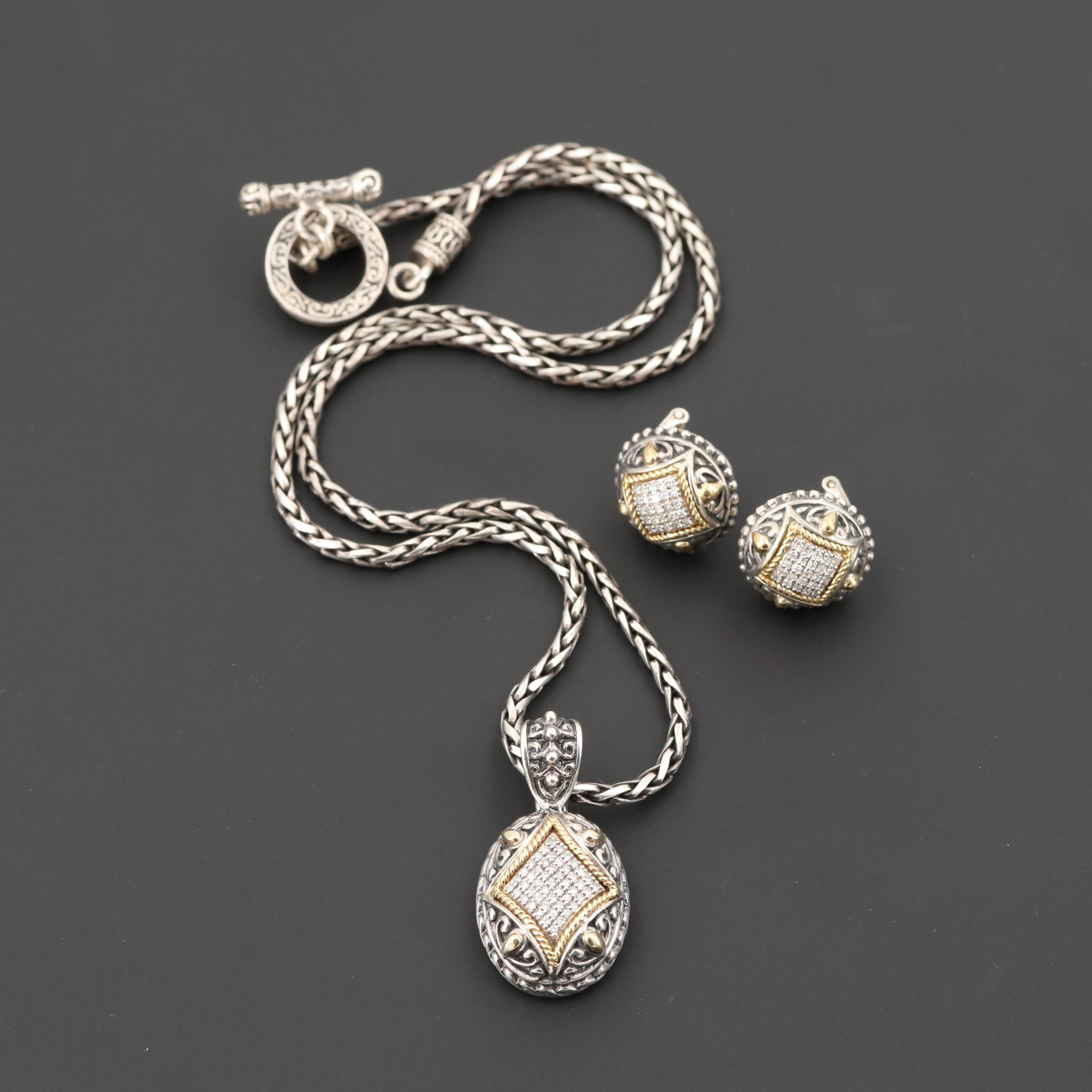 Effy Sterling Silver Diamond Necklace and Earring Set with 18K Gold Accents