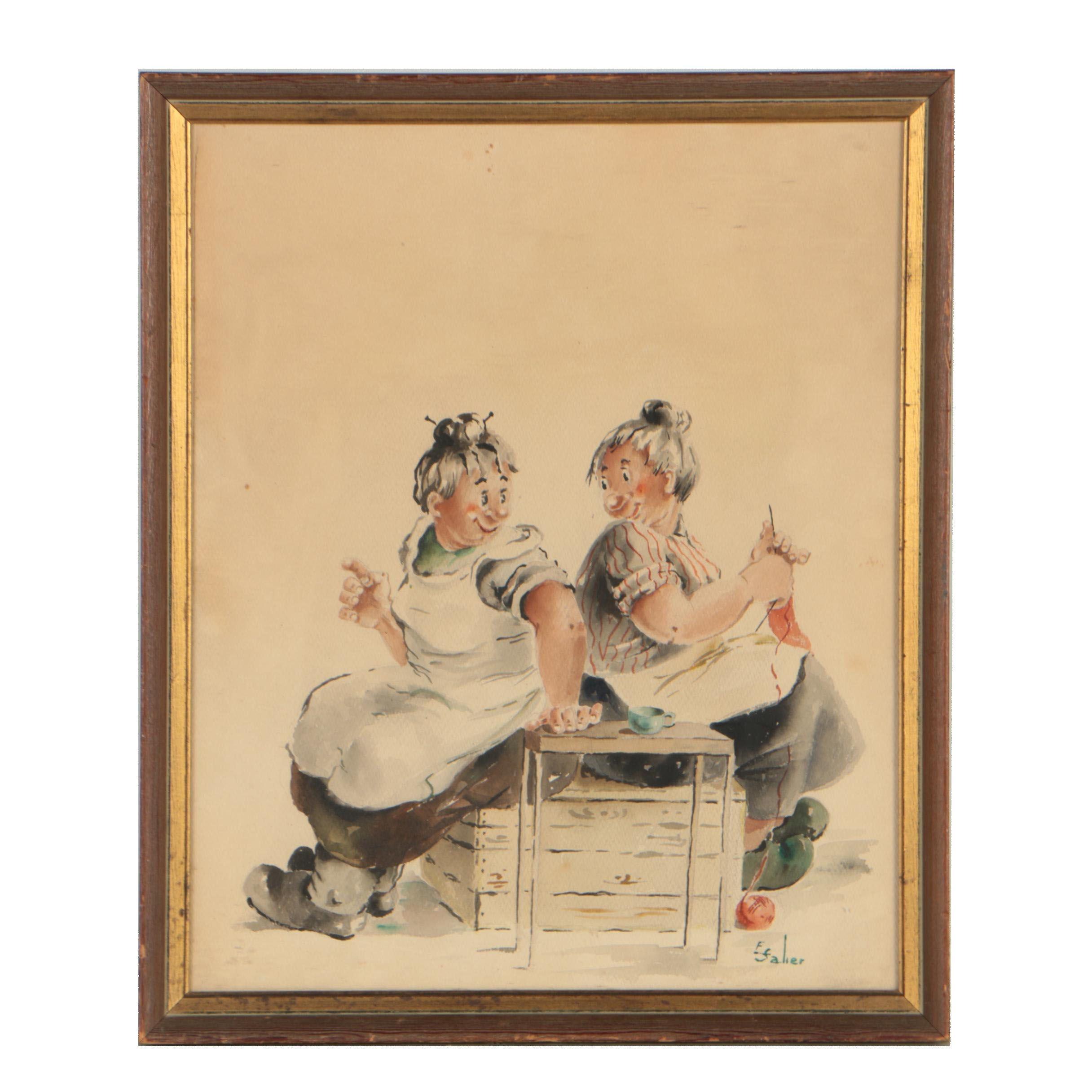 E. Salier Satirical Watercolor Illustration of Genre Scene