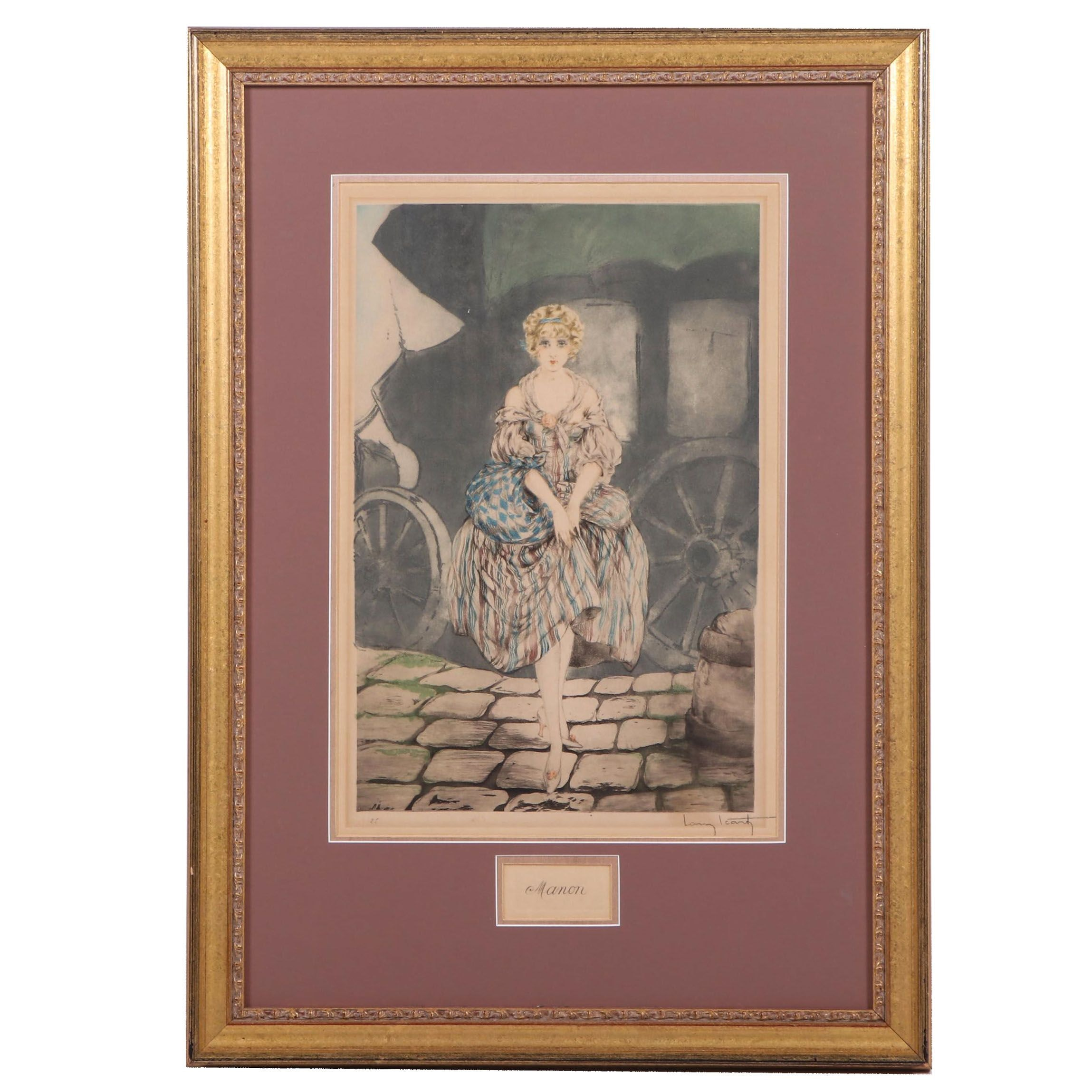 """Louis Icart Hand-Colored Etching with Aquatint and Drypoint """"Manon"""""""