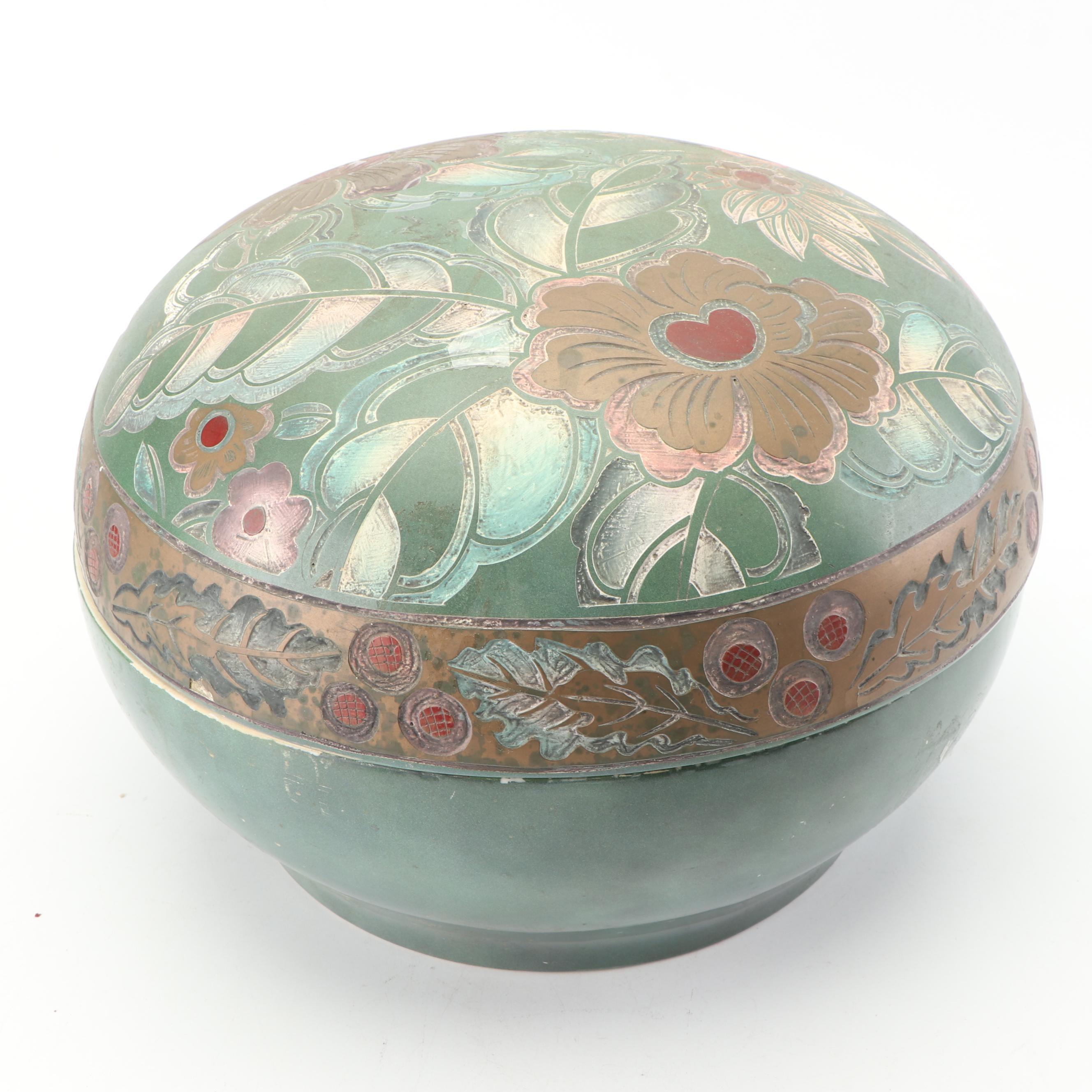 Lidded Ceramic Floral Pot