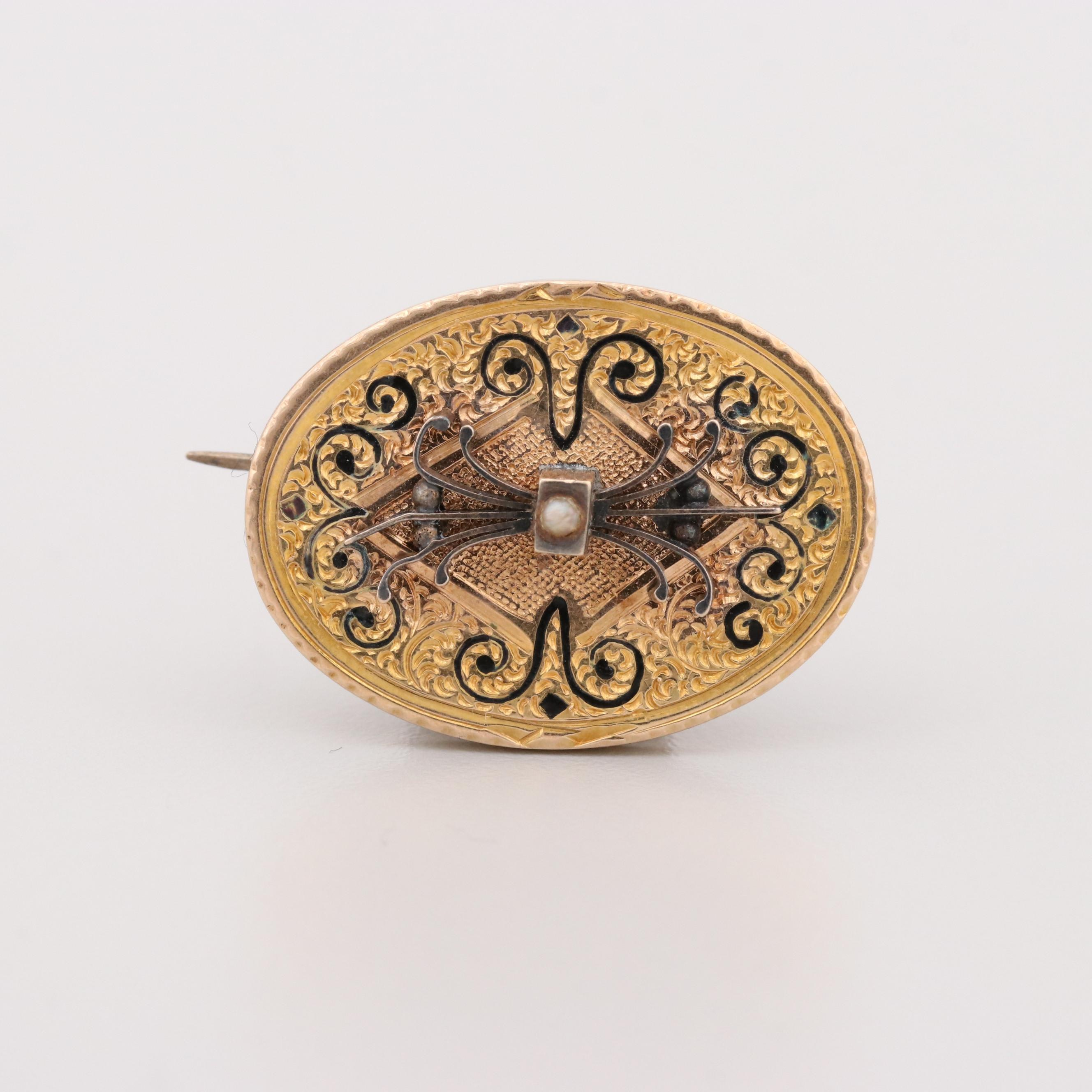 Circa 1900's Gold Tone Seed Pearl and Enamel Brooch