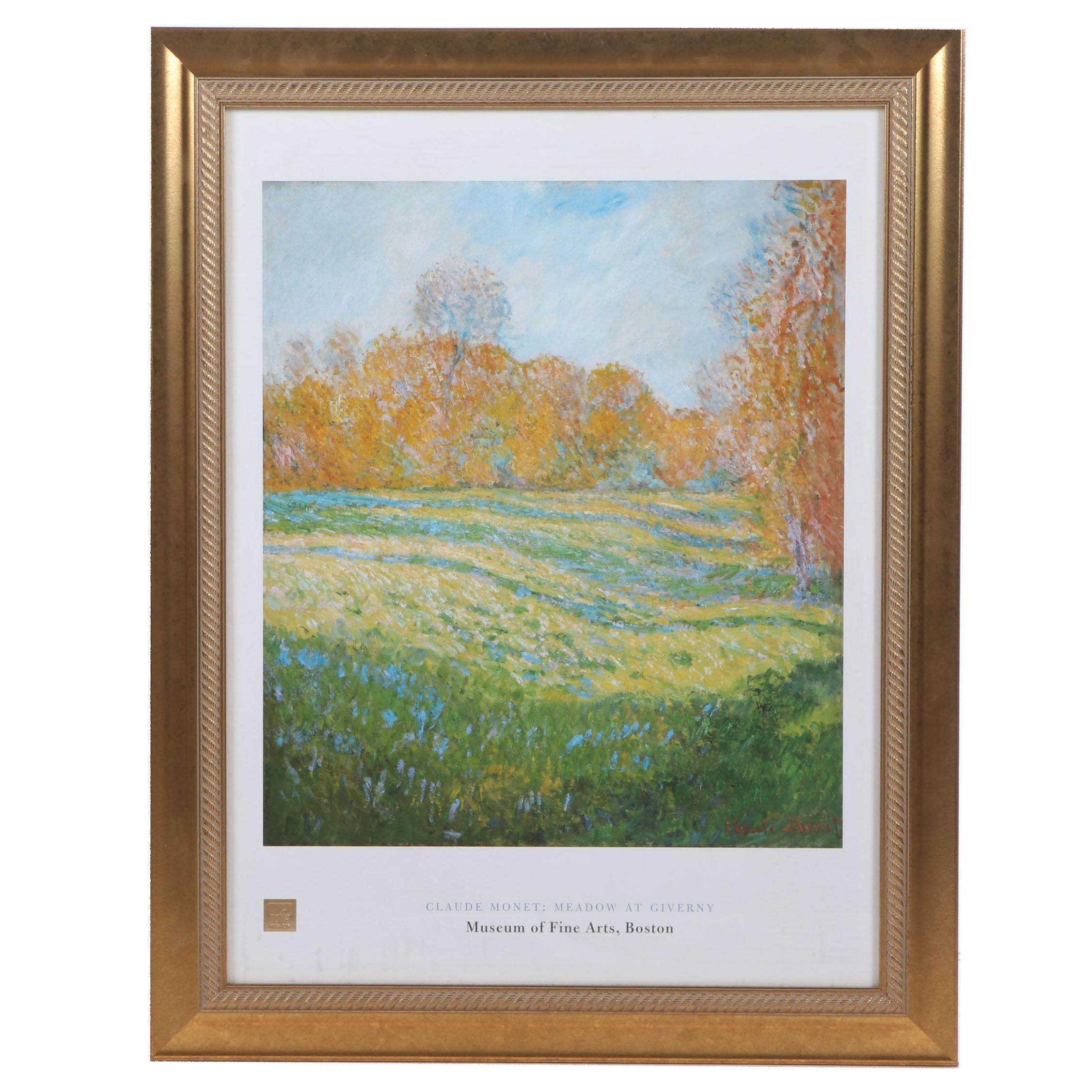 "Offset Lithograph after Claude Monet ""Meadow at Giverny"" Museum Poster"