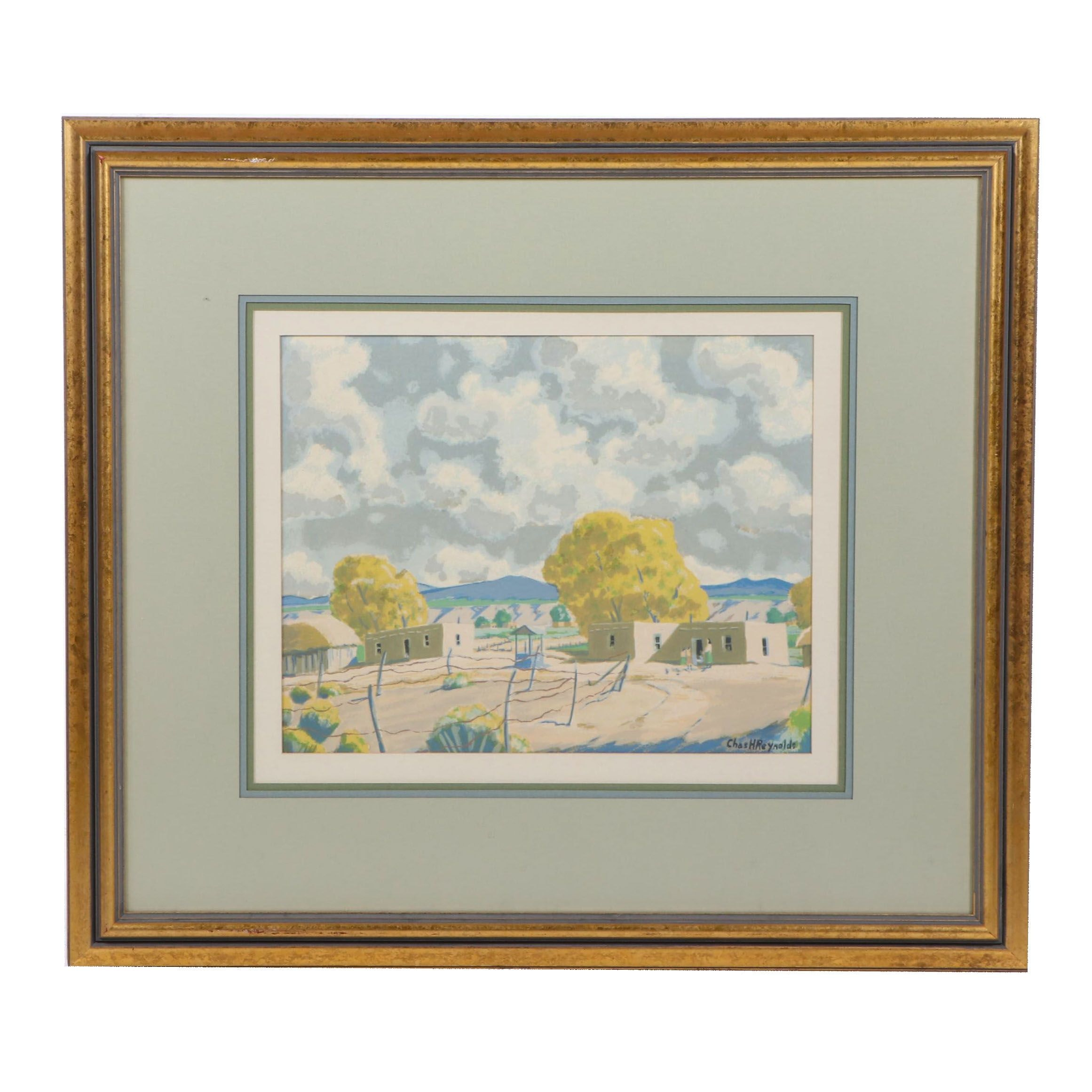 Charles Henry Reynolds Lithograph of Southwestern Landscape