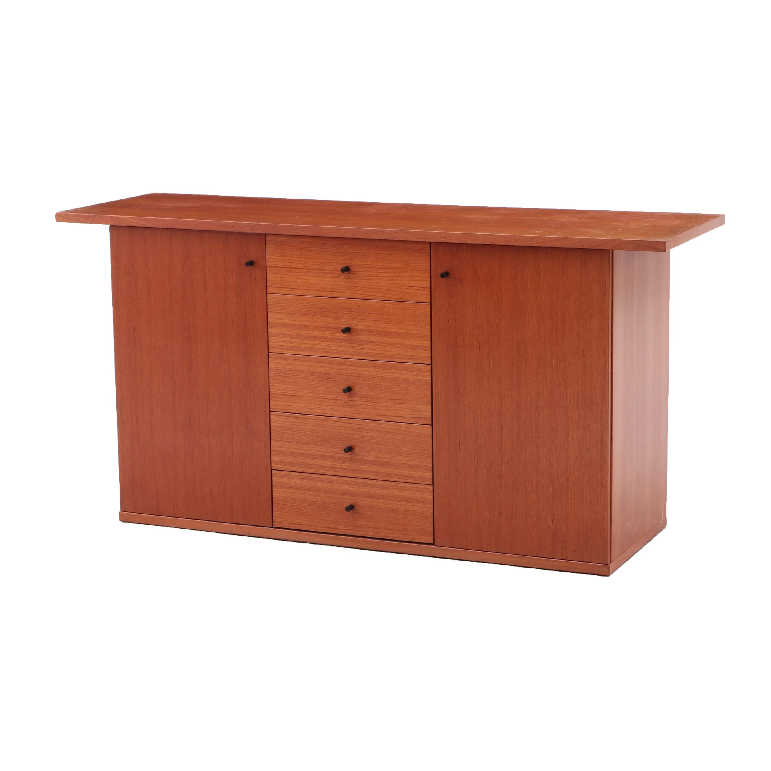 Mid Century Modern Style Teak Finish Buffet, Contemporary