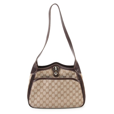 43b2960c61dbbe Gucci Shoulder Bag in GG Canvas and Leather with Ball Toggle Closure,  Vintage