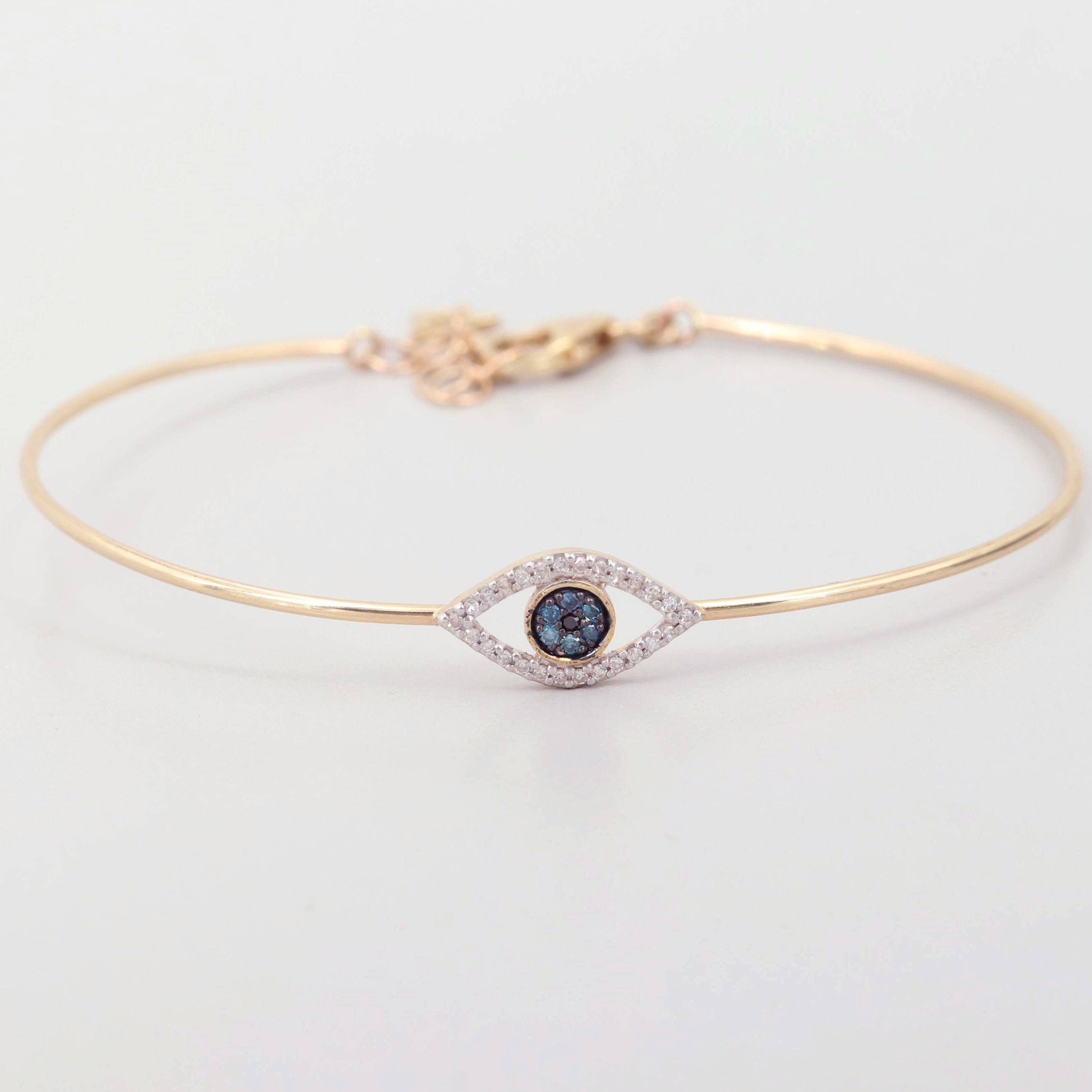 10K Yellow Gold Diamond Evil Eye  Bangle Bracelet