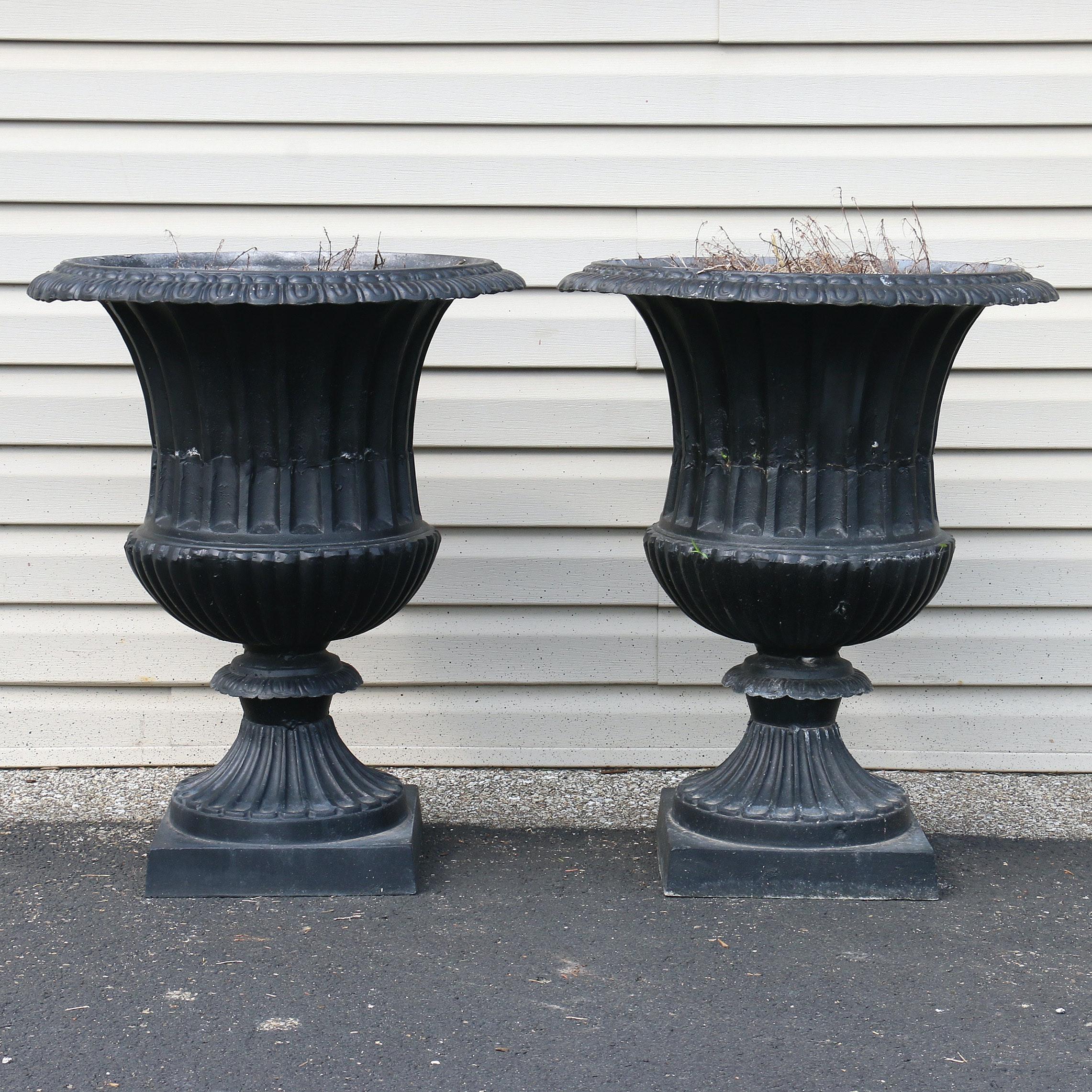 Pair of Metal Urn Planters