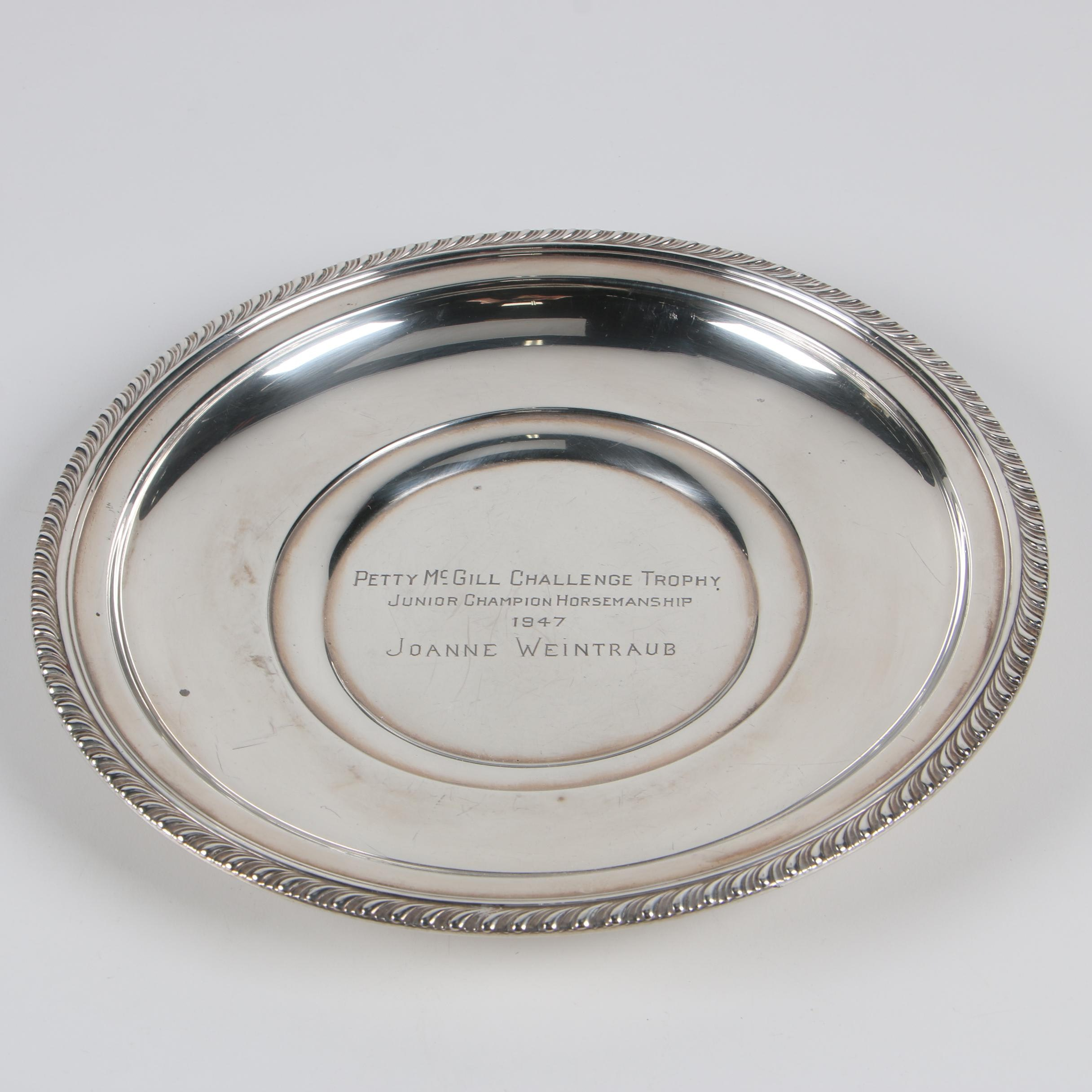 Manchester Silver Co. Sterling Petty McGill Challenge Trophy Plate, 1947