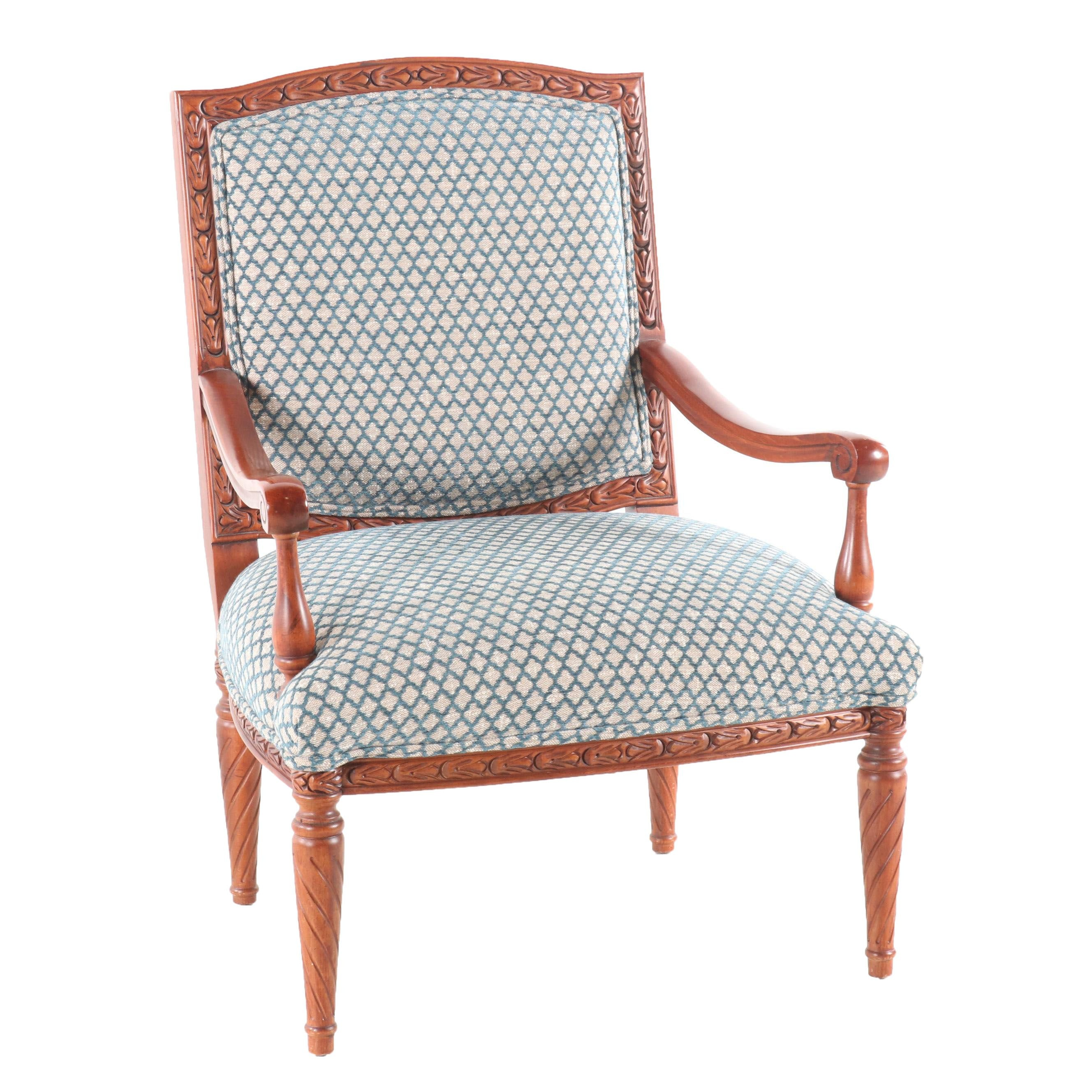 Transitional Upholstered Wooden Arm Chair by Sam Moore Furniture, Contemporary