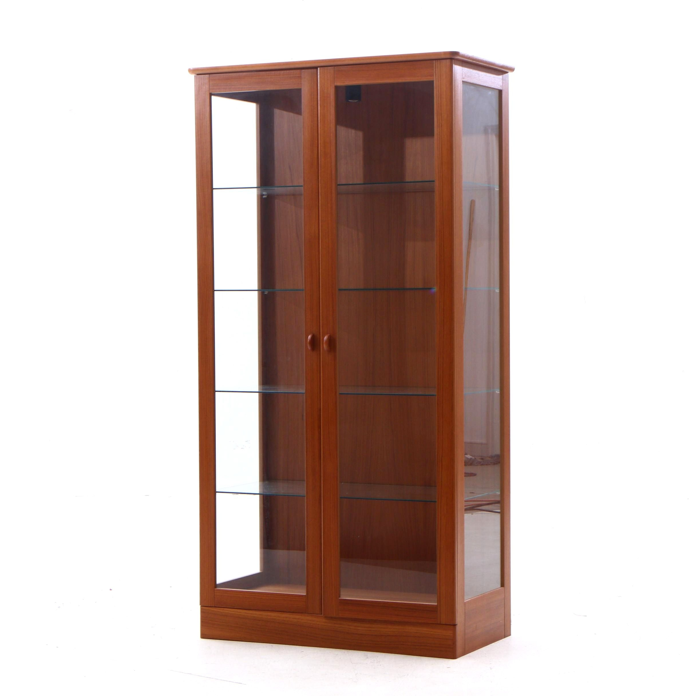 Mid Century Modern Style Teak China Cabinet, Contemporary