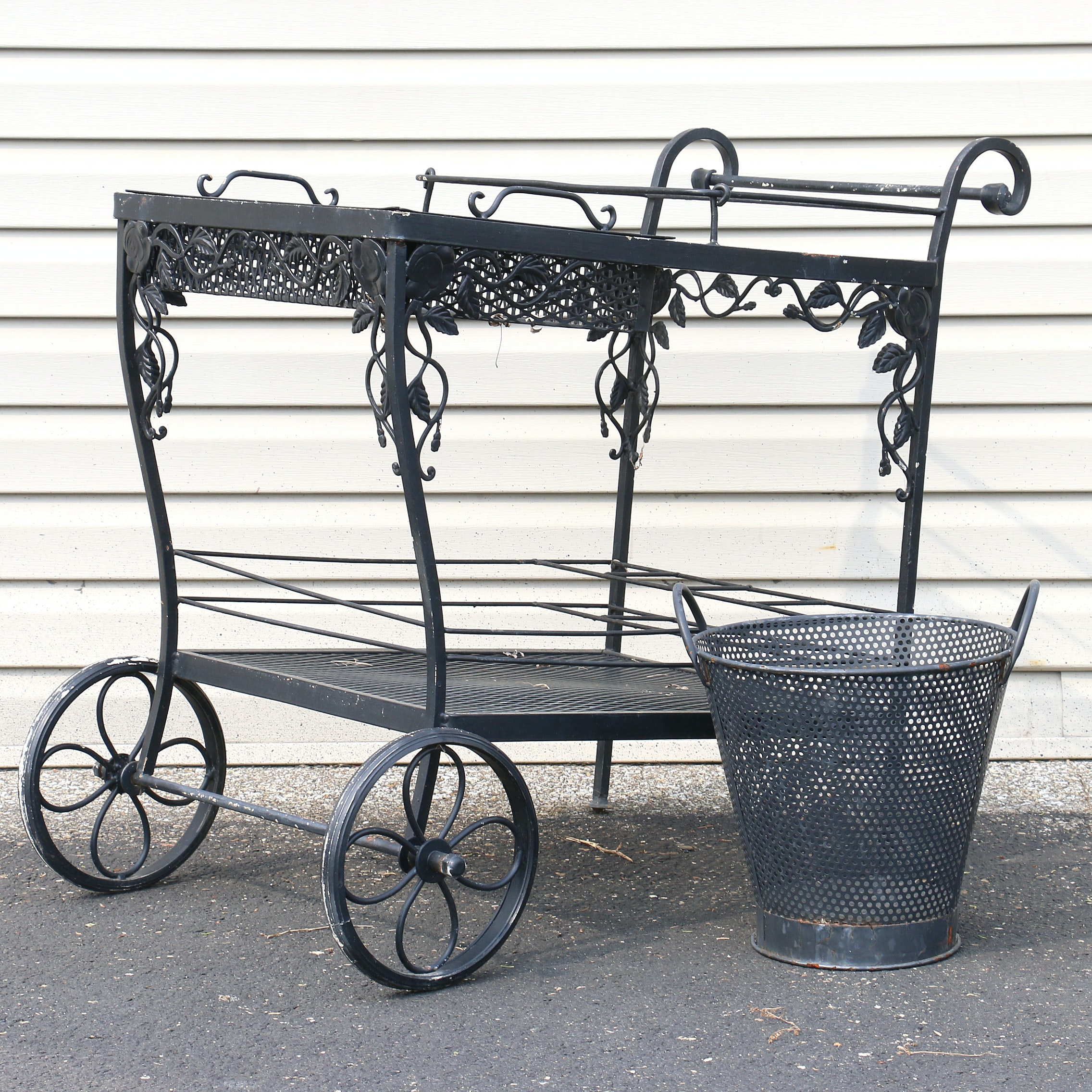 Wrought Iron Patio Cart and Basket