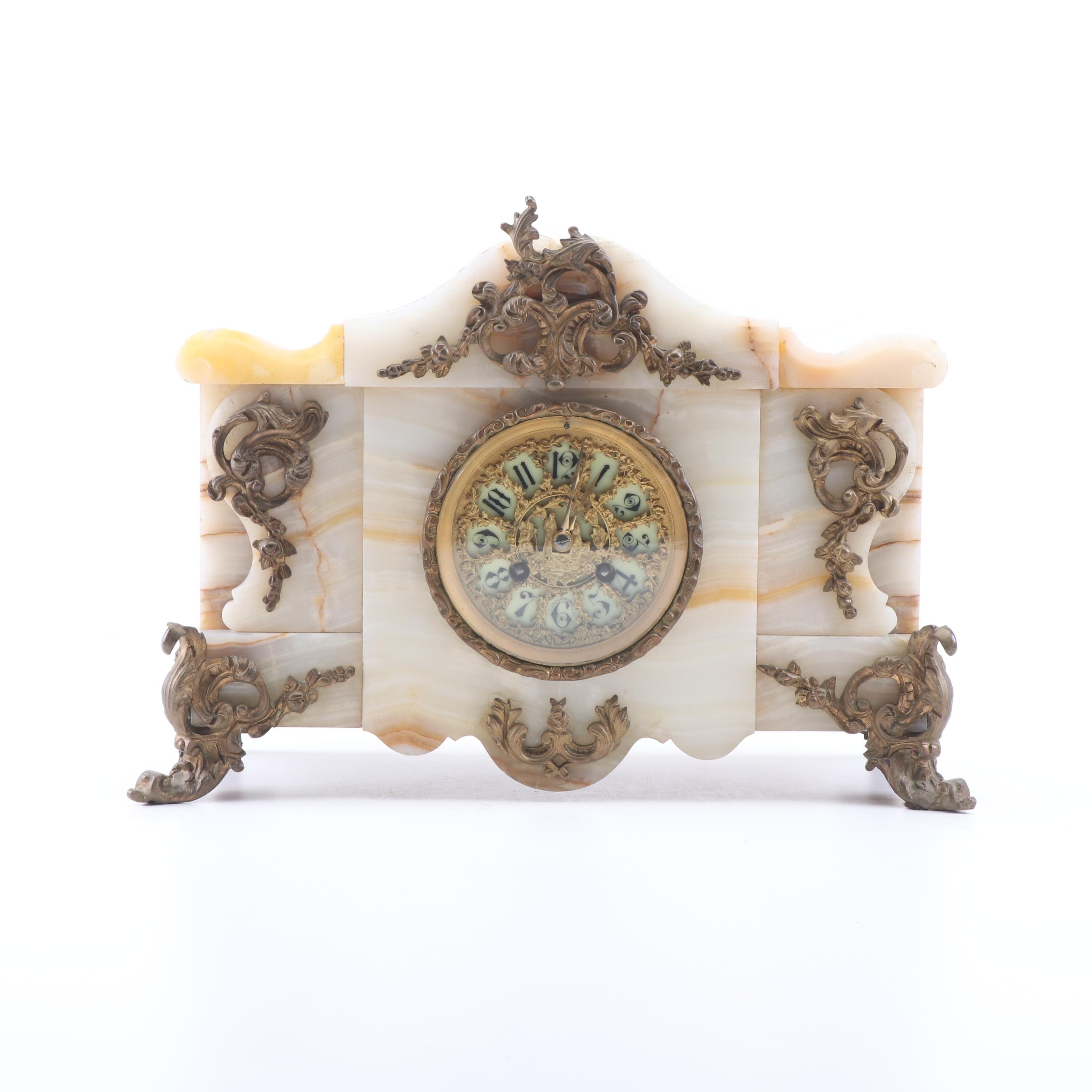 E.S. Ettenheimer Agate and Gilt Bronze Mounted Mantel Clock