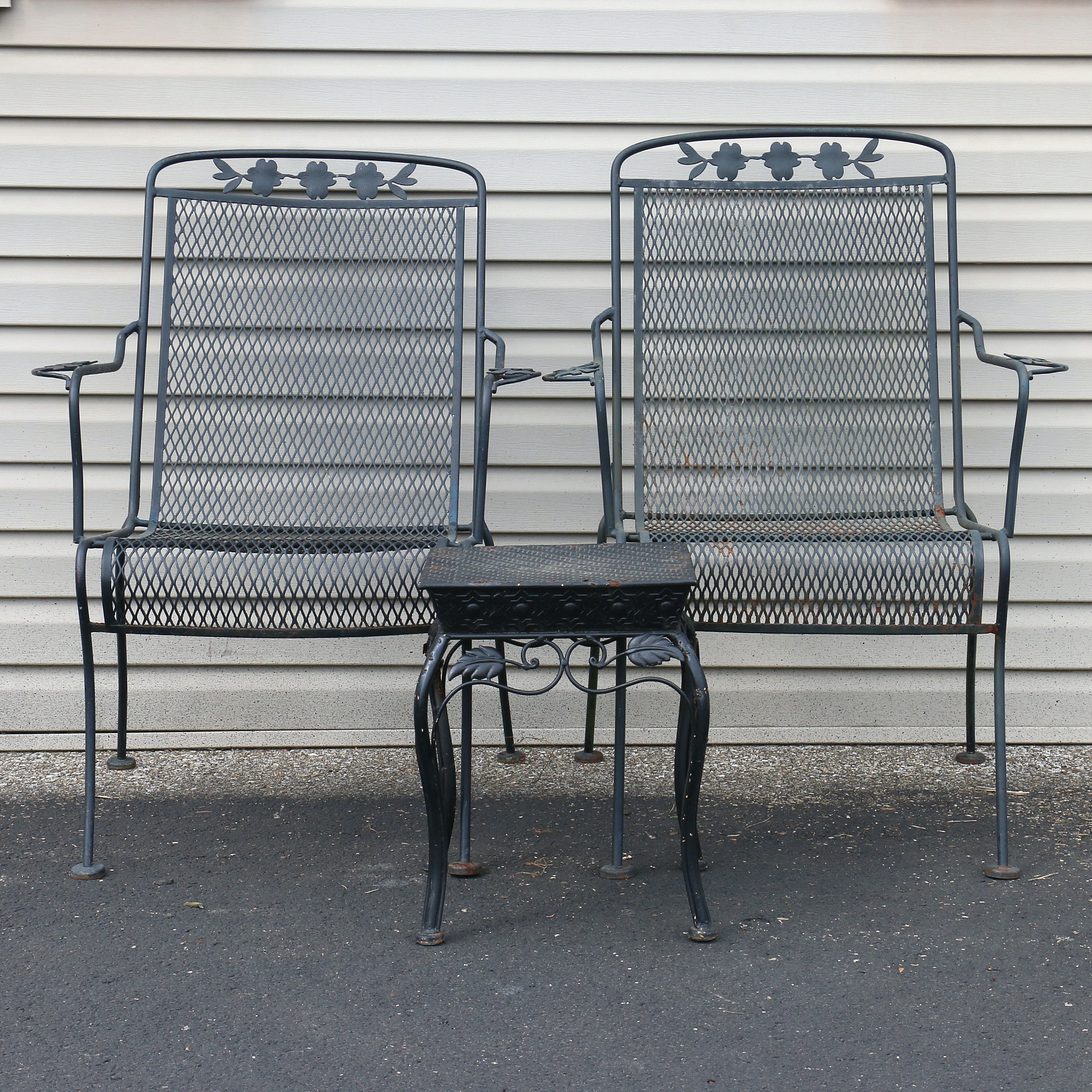 Wrought Iron Patio Chairs and End Table