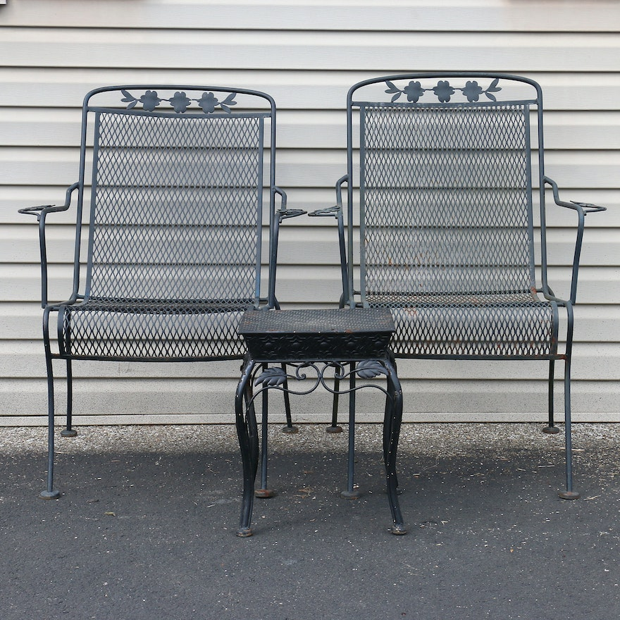 Wrought Iron Patio Chairs And End Table Ebth