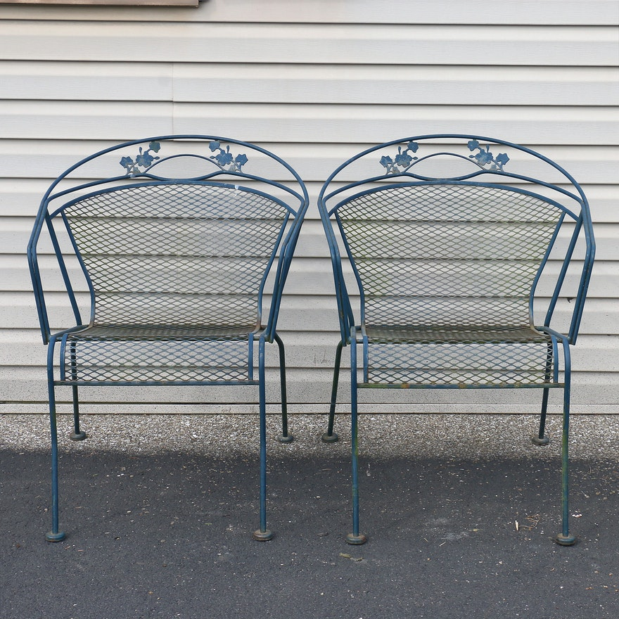 Pair Of Wrought Iron Patio Chairs Ebth
