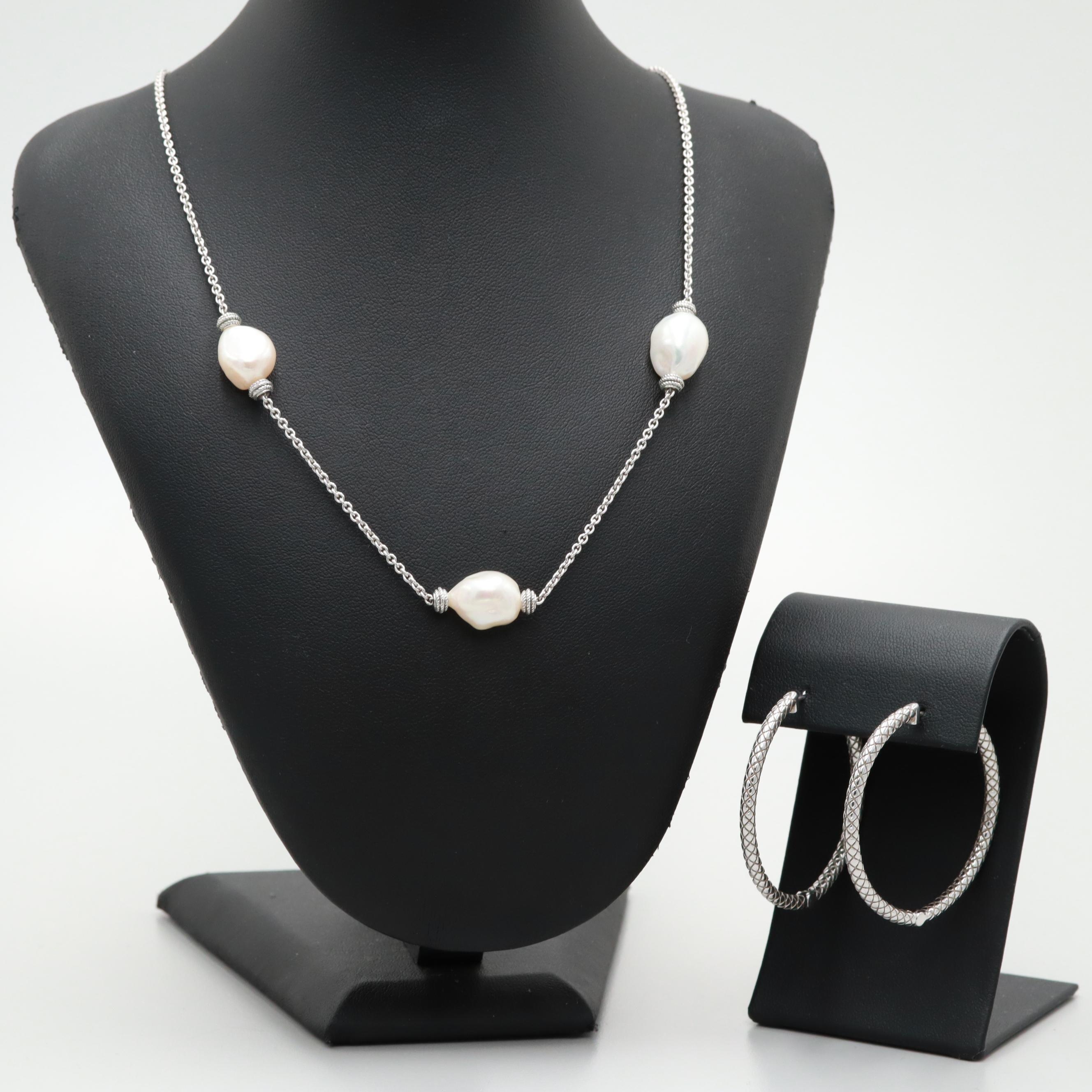 Sterling Silver Hoop Earrings and Leslie Greene Cultured Pearl Necklace Set