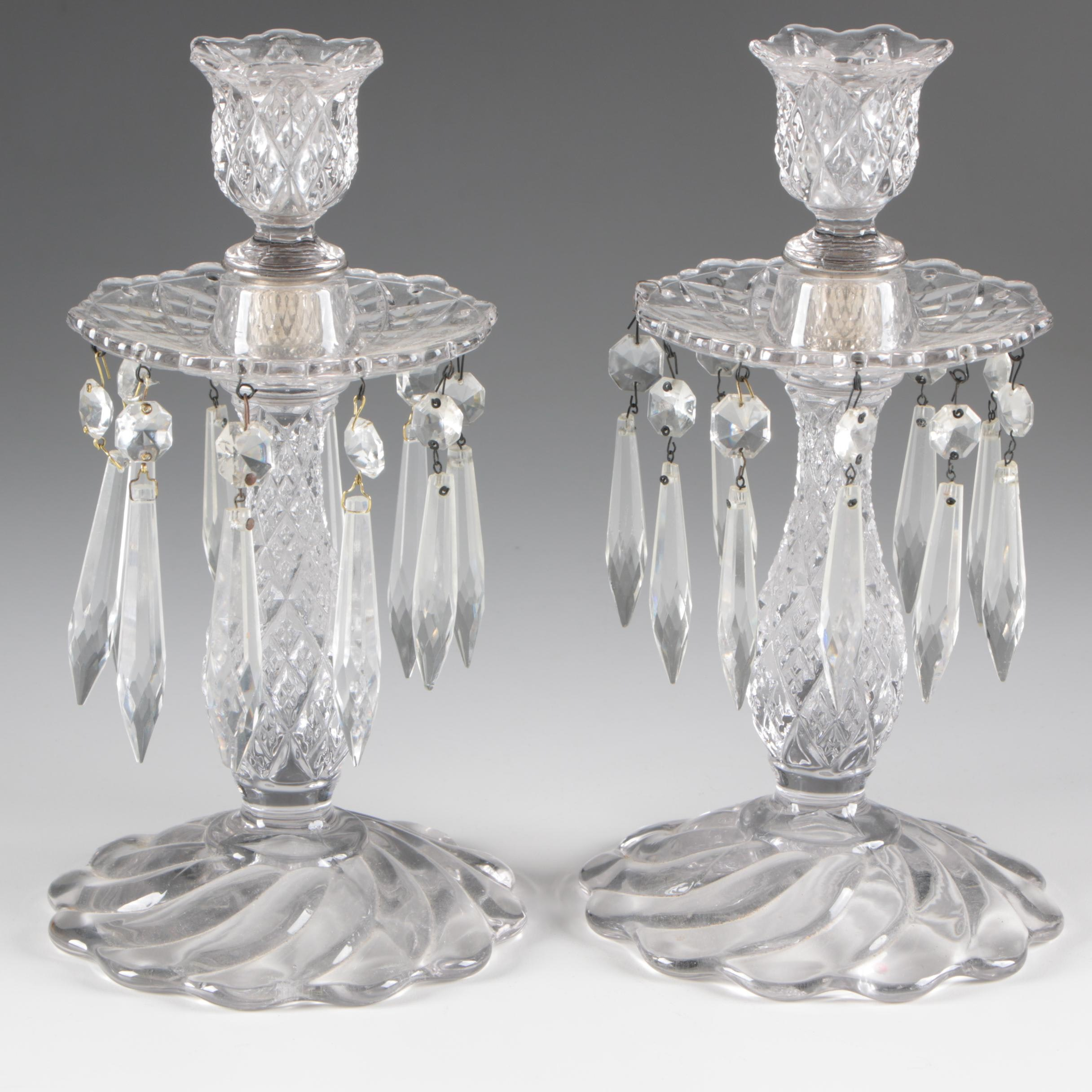 Pair of Pressed Glass Candlesticks with Cut Glass Drops