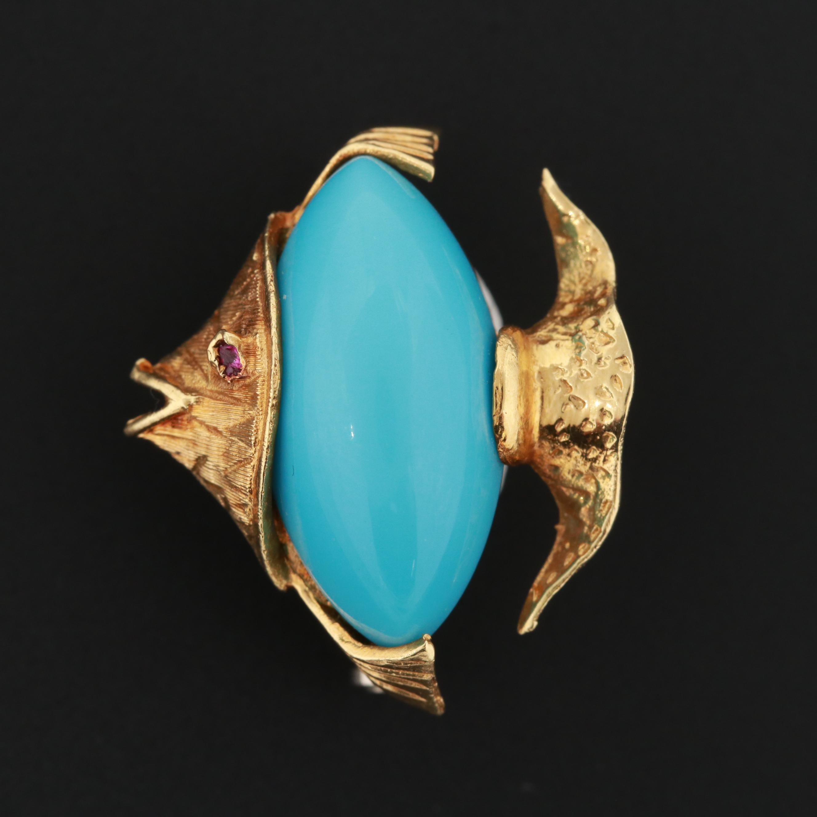 Corletto 18K Yellow Gold Fish Brooch