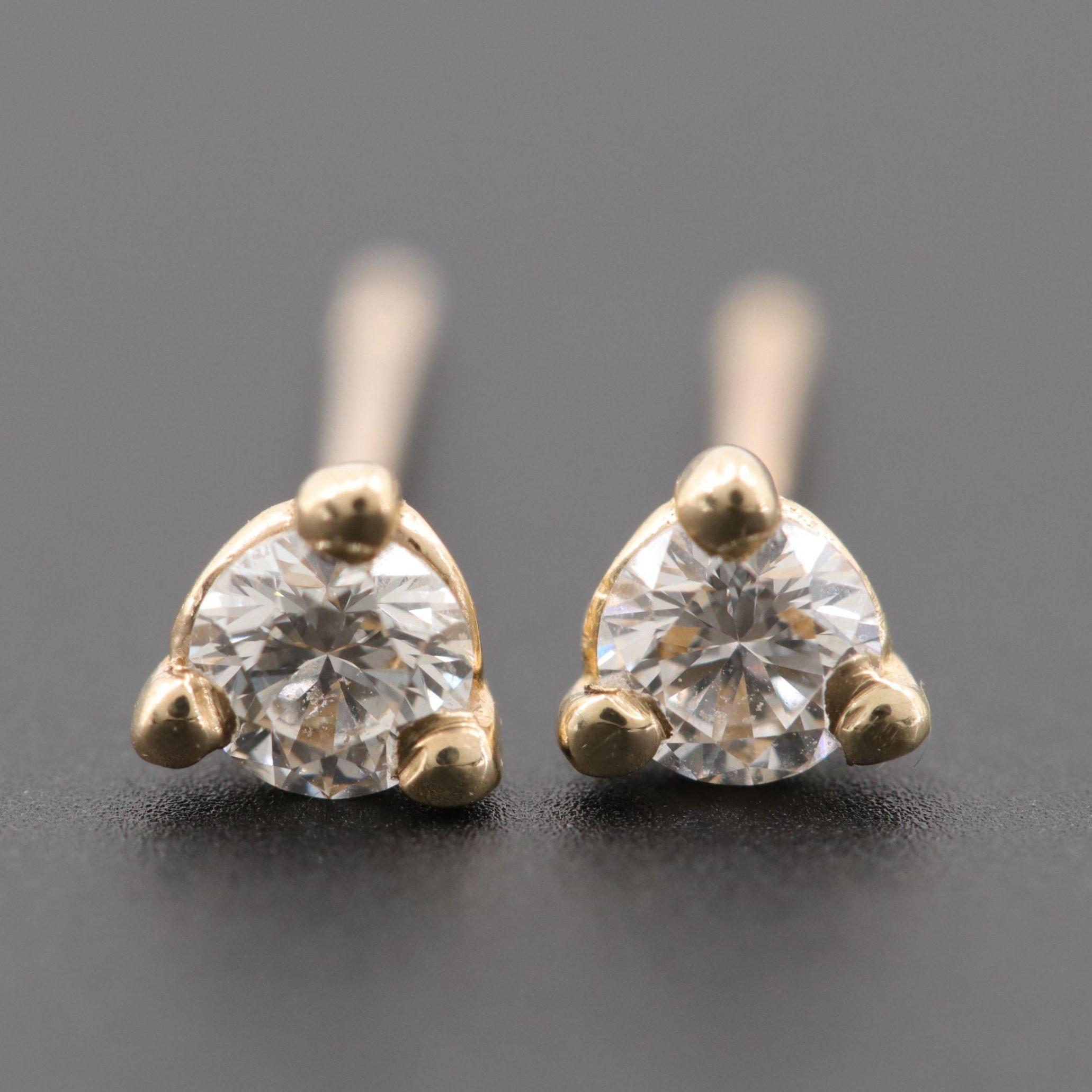 14K Yellow Gold Diamond Earrings with Martini Setting