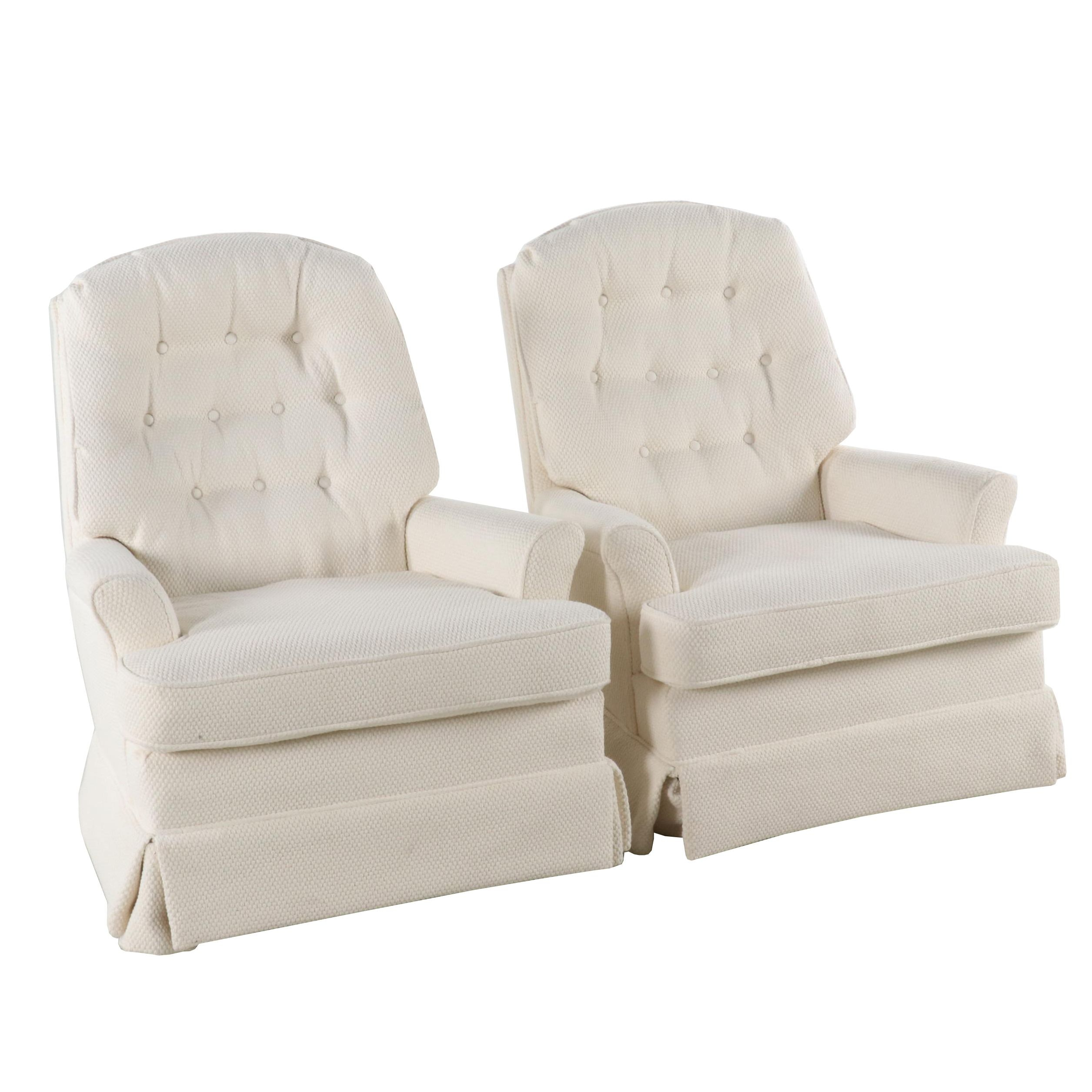 Pair of Upholstered Rocking Armchairs, Late 20th Century