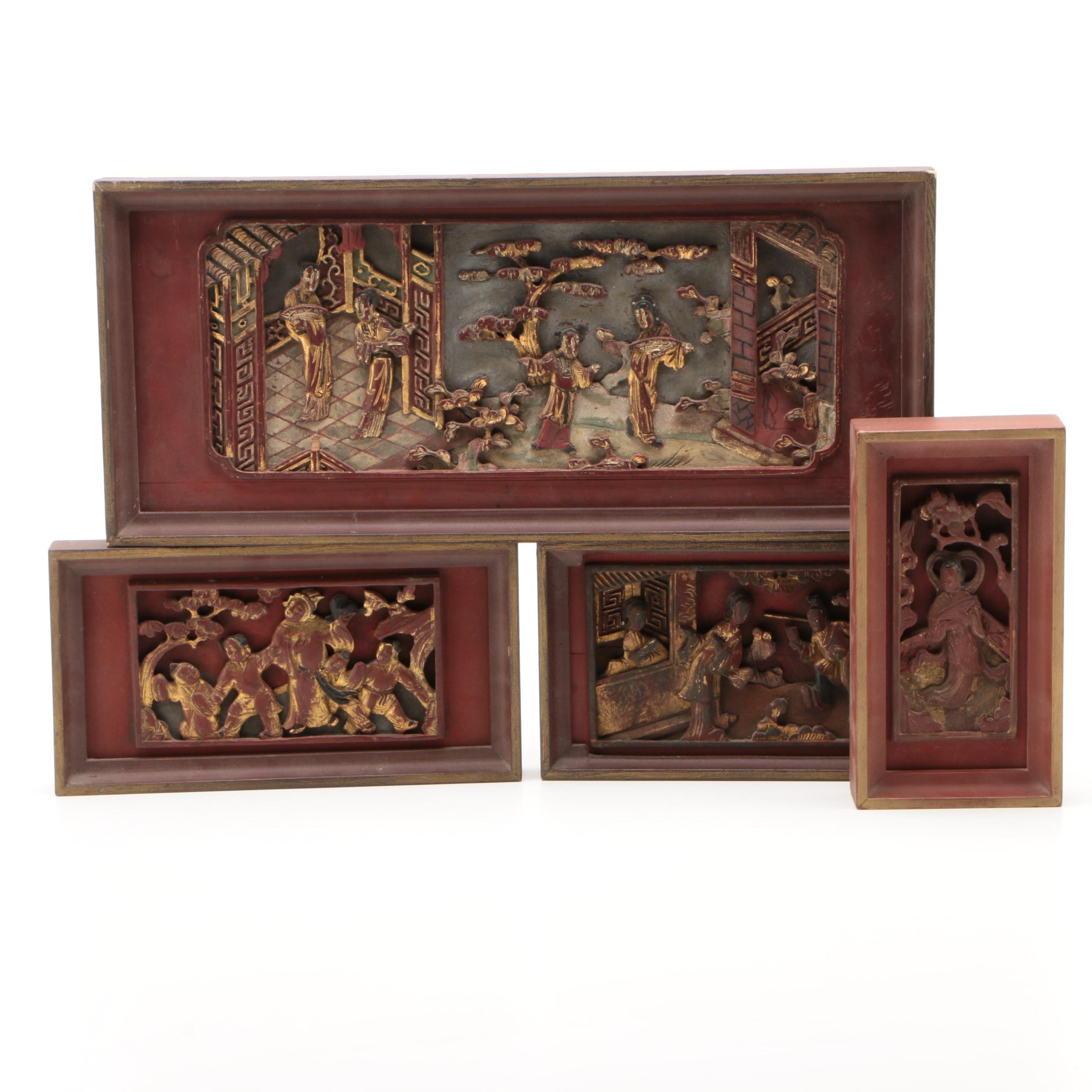 Chinese Gilded Carved Wood Panels