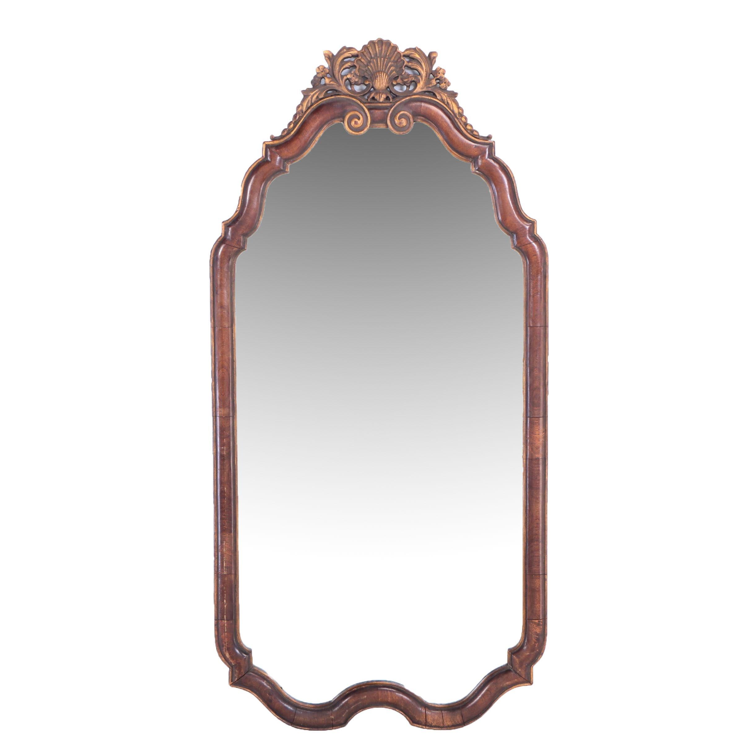 Queen Anne Style Walnut and Parcel-Gilt Pier Mirror, 20th Century
