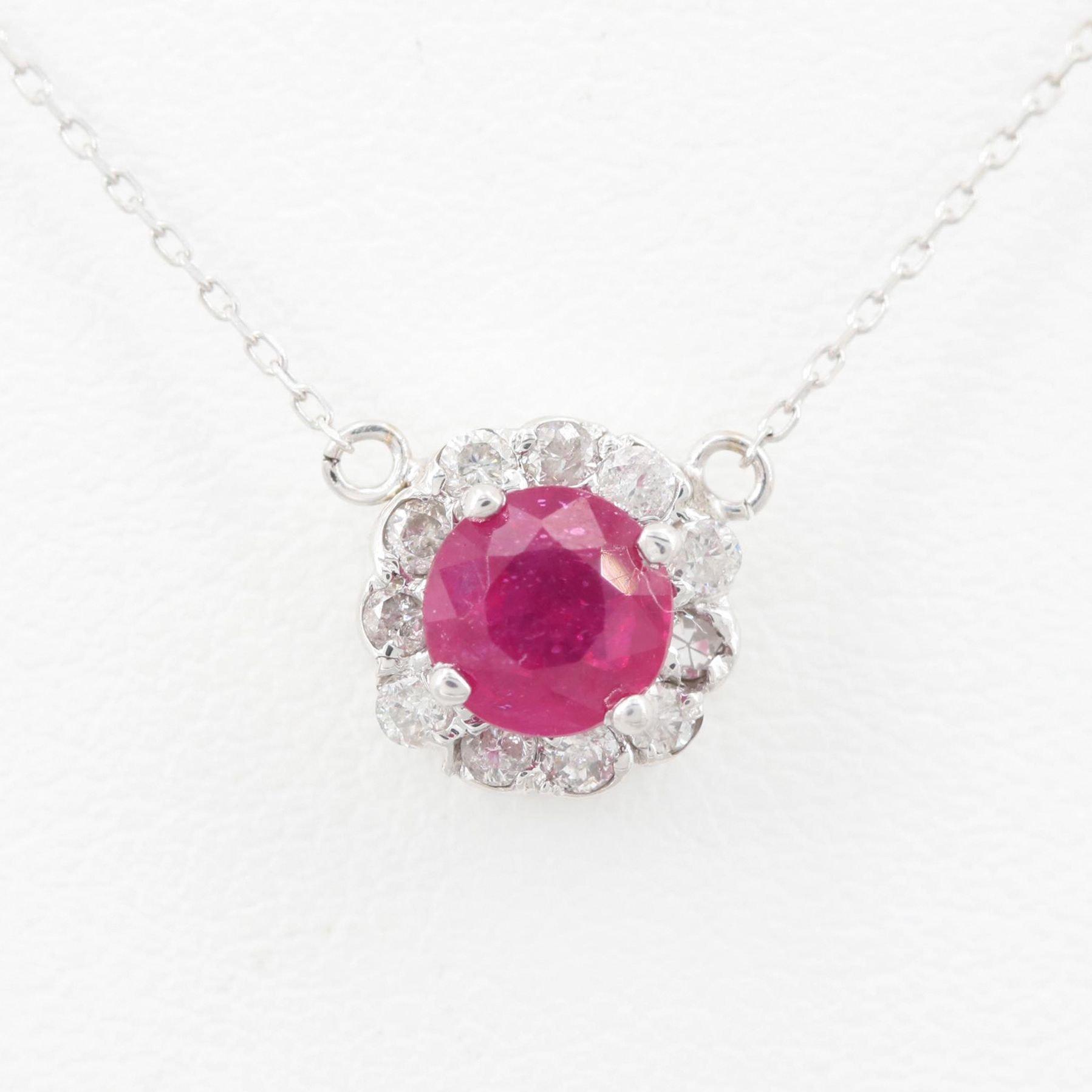 14K White Gold Glass Filled Corundum and Diamond Pendant Necklace