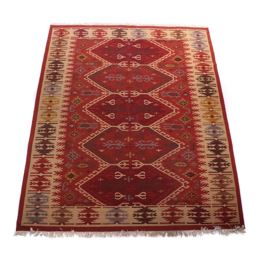 Handwoven Indo-Anatolian Kilim Wool Room Size Rug