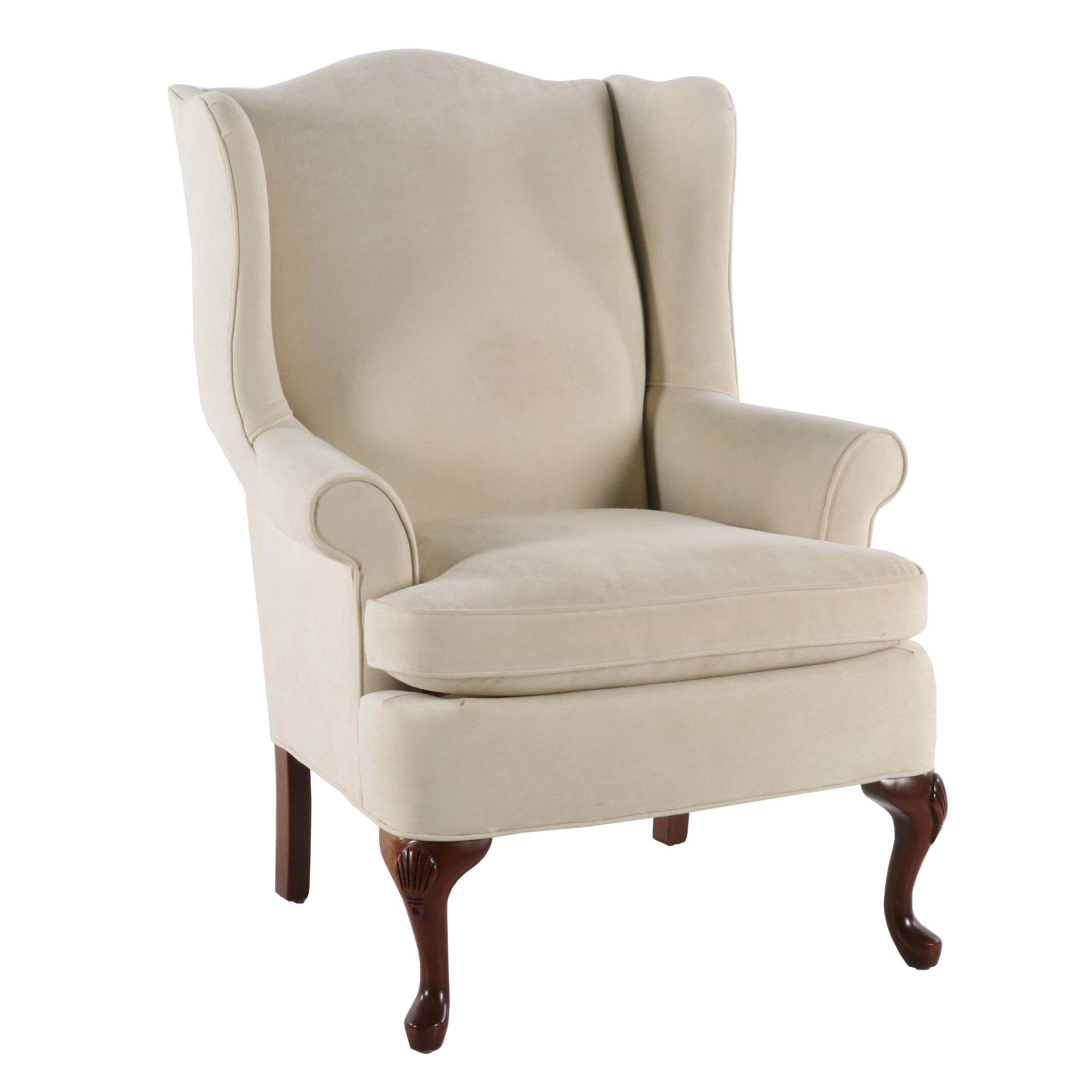 Contemporary Queen Anne Style Upholstered Wingback Chair