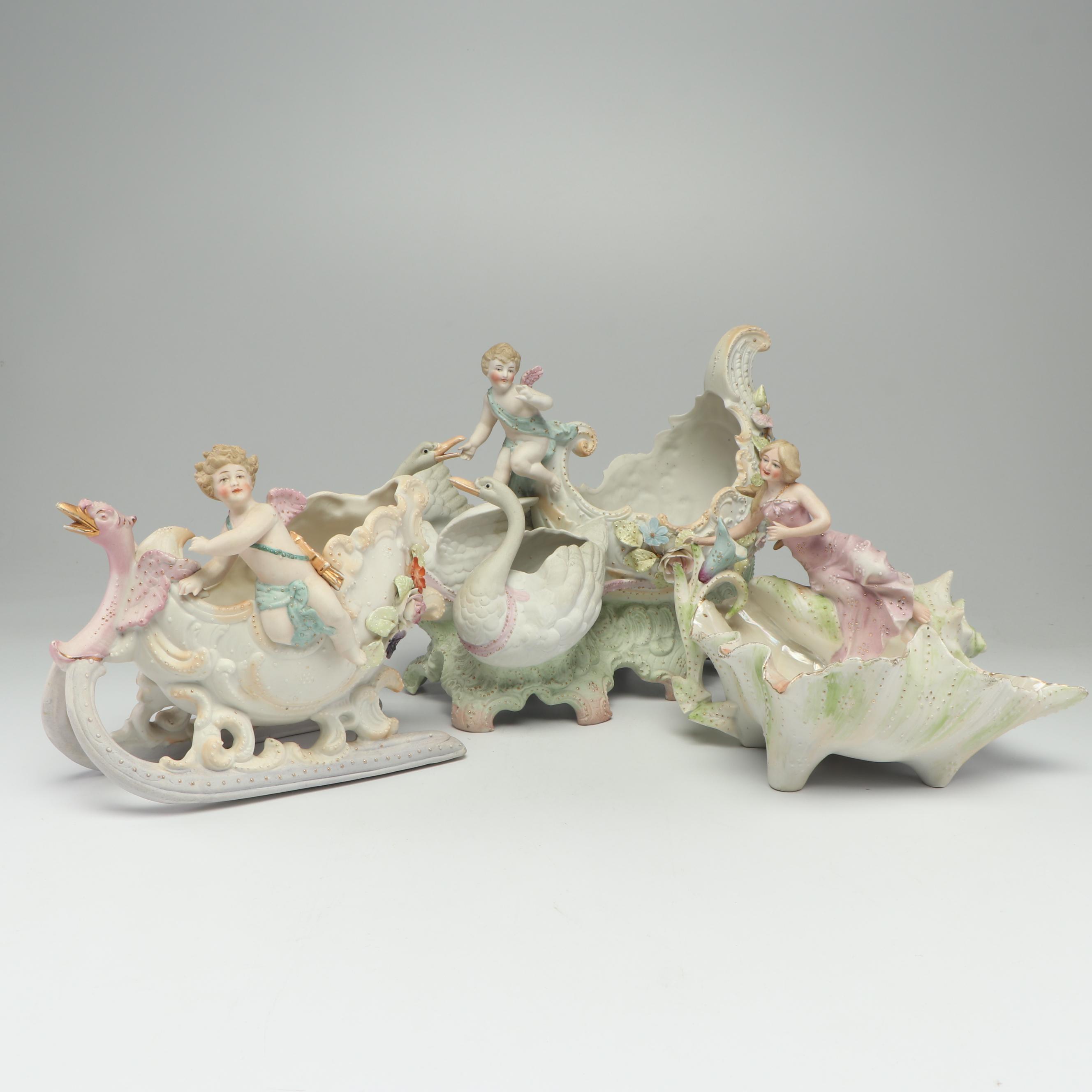 Bisque Porcelain Figural Vases