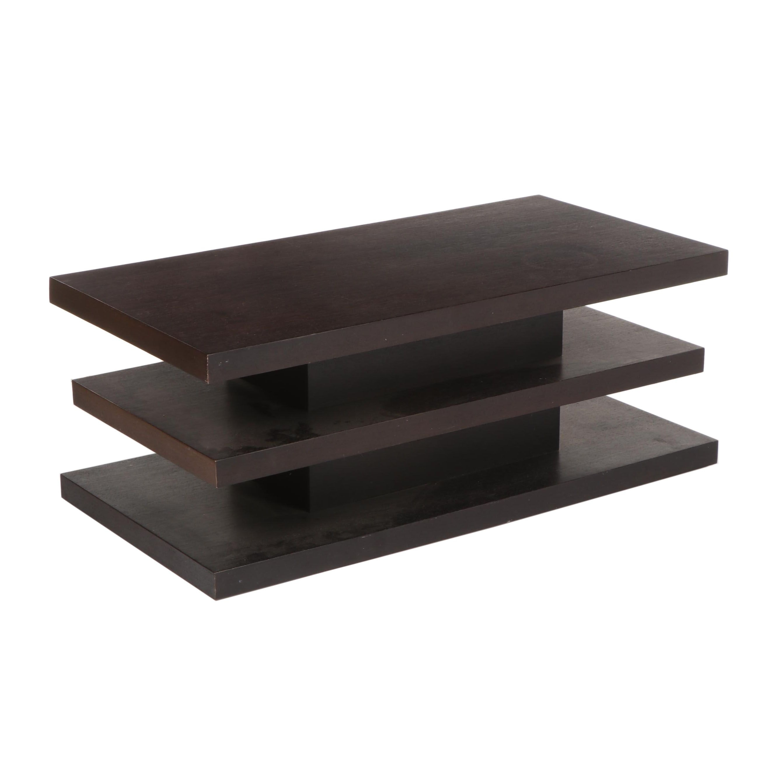 Contemporary Modern Three Tier Wooden Coffee Table