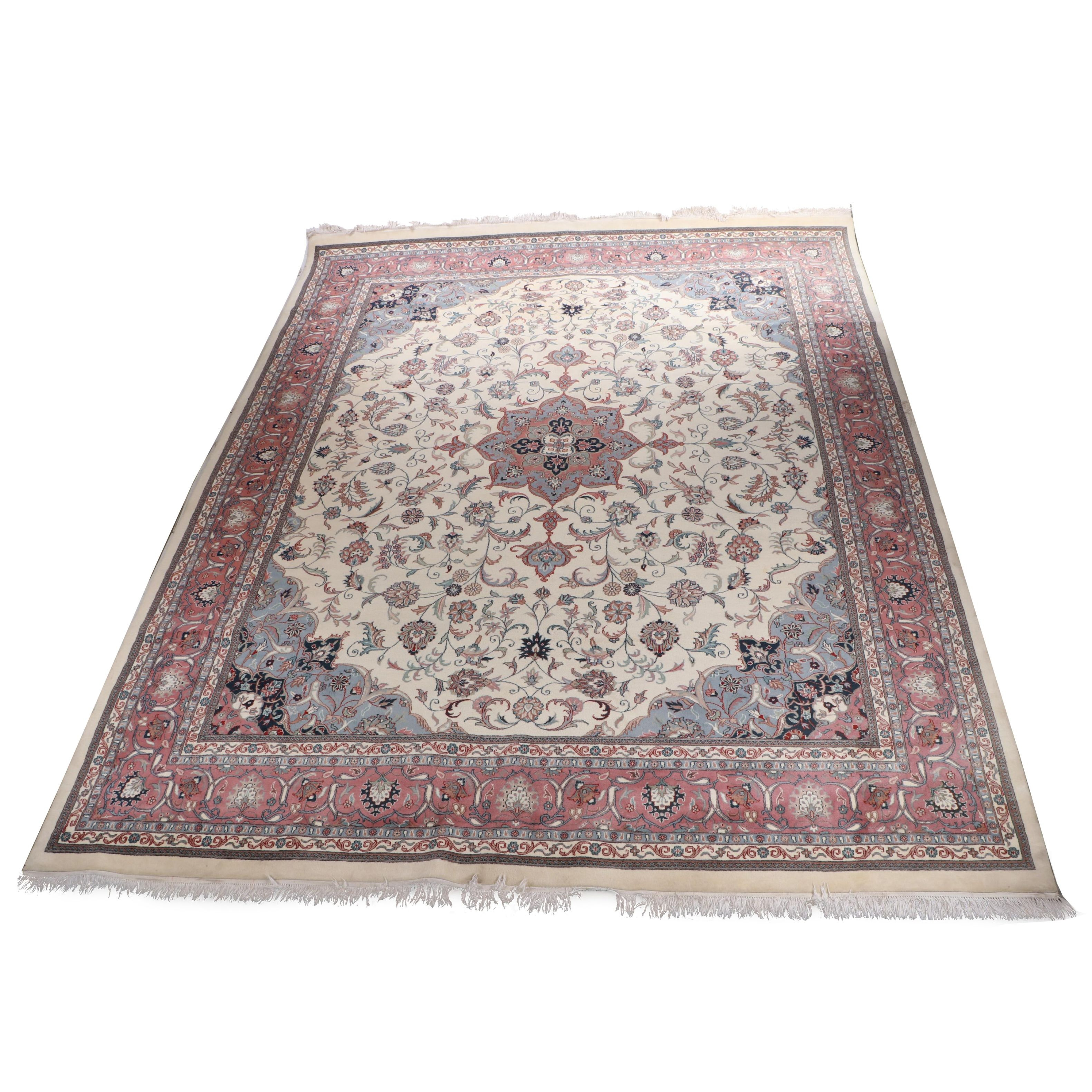 Hand-Knotted Indo-Persian Isfahan Wool Room Sized Rug
