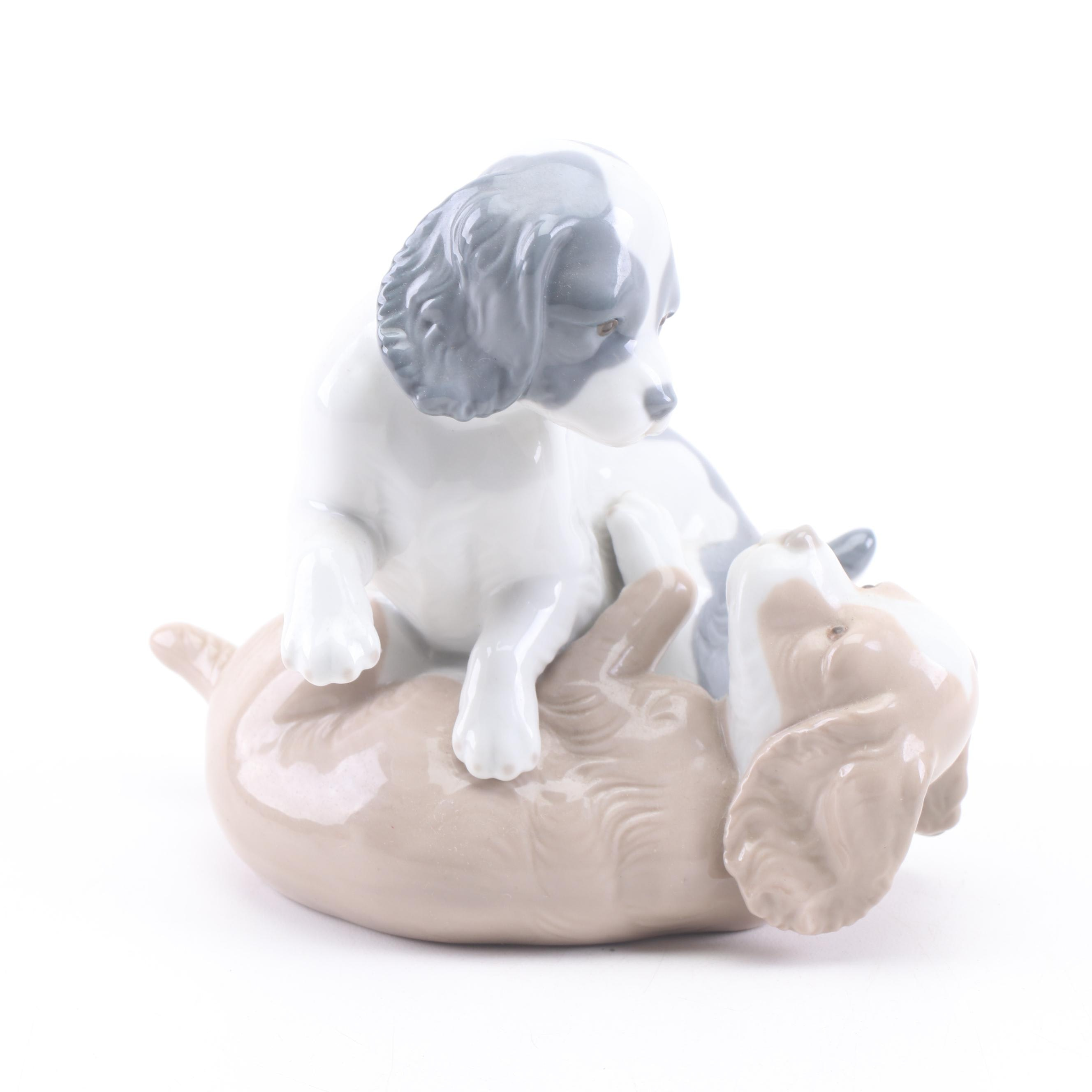 Nao by Lladro Playing Dogs Porcelain Figurine, 1983