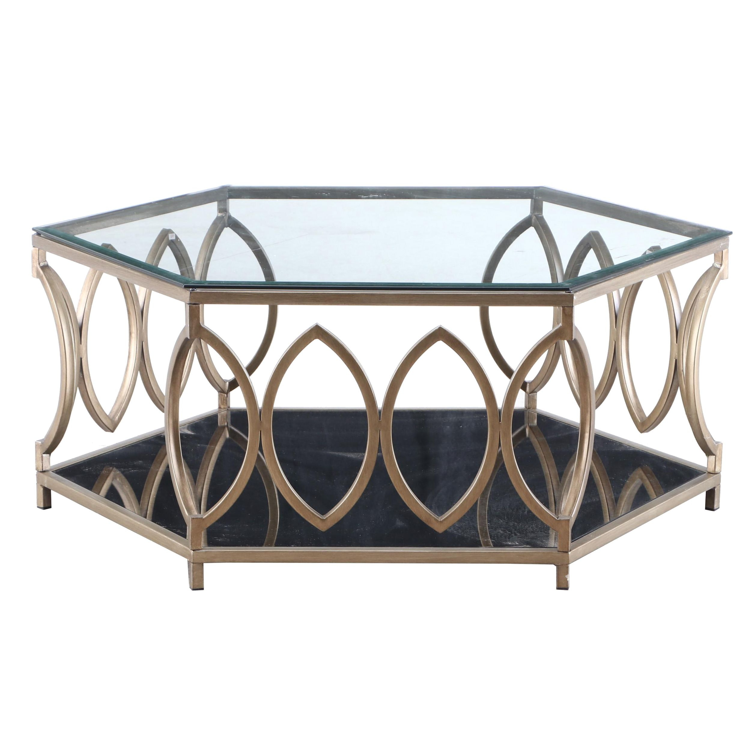 Contemporary Hexagonal Metal and Glass Coffee Table