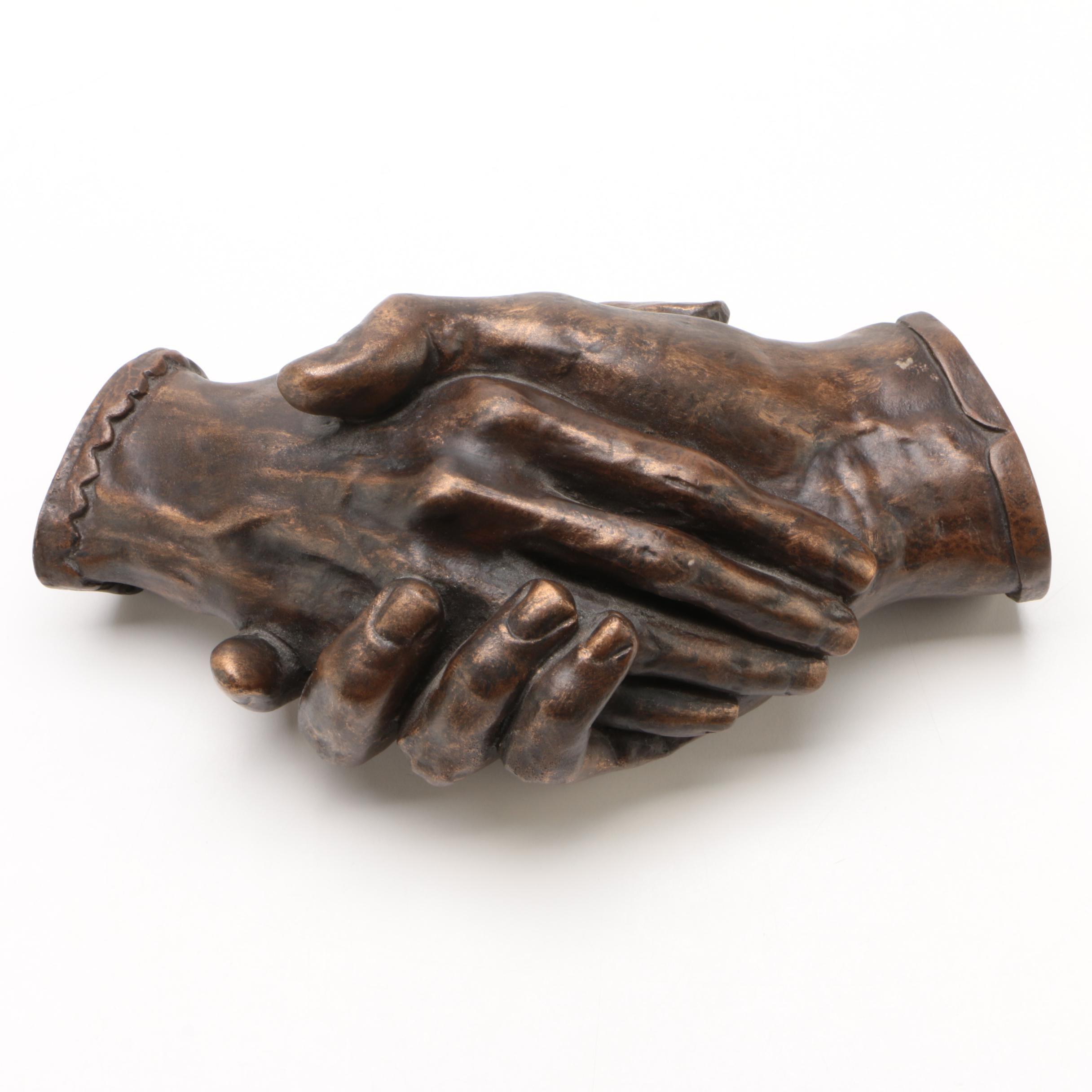 """Resin Sculpture after Harriet Goodhue Hosmer """"Clasped Hands"""""""