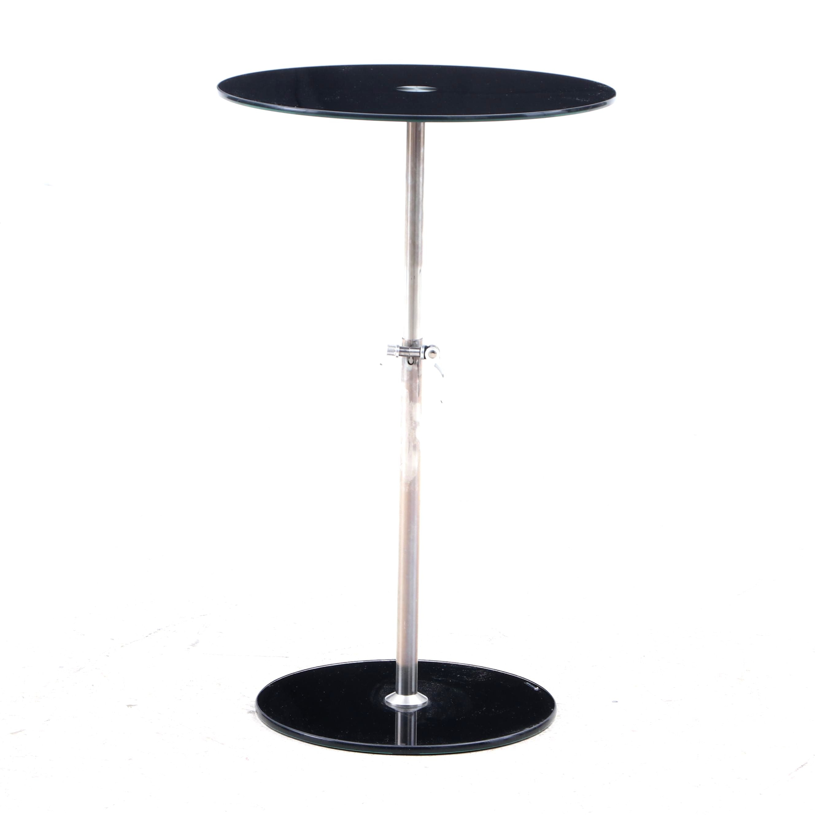 Modernist Tempered Glass and Chrome Finish Adjustable End Table, Contemporary