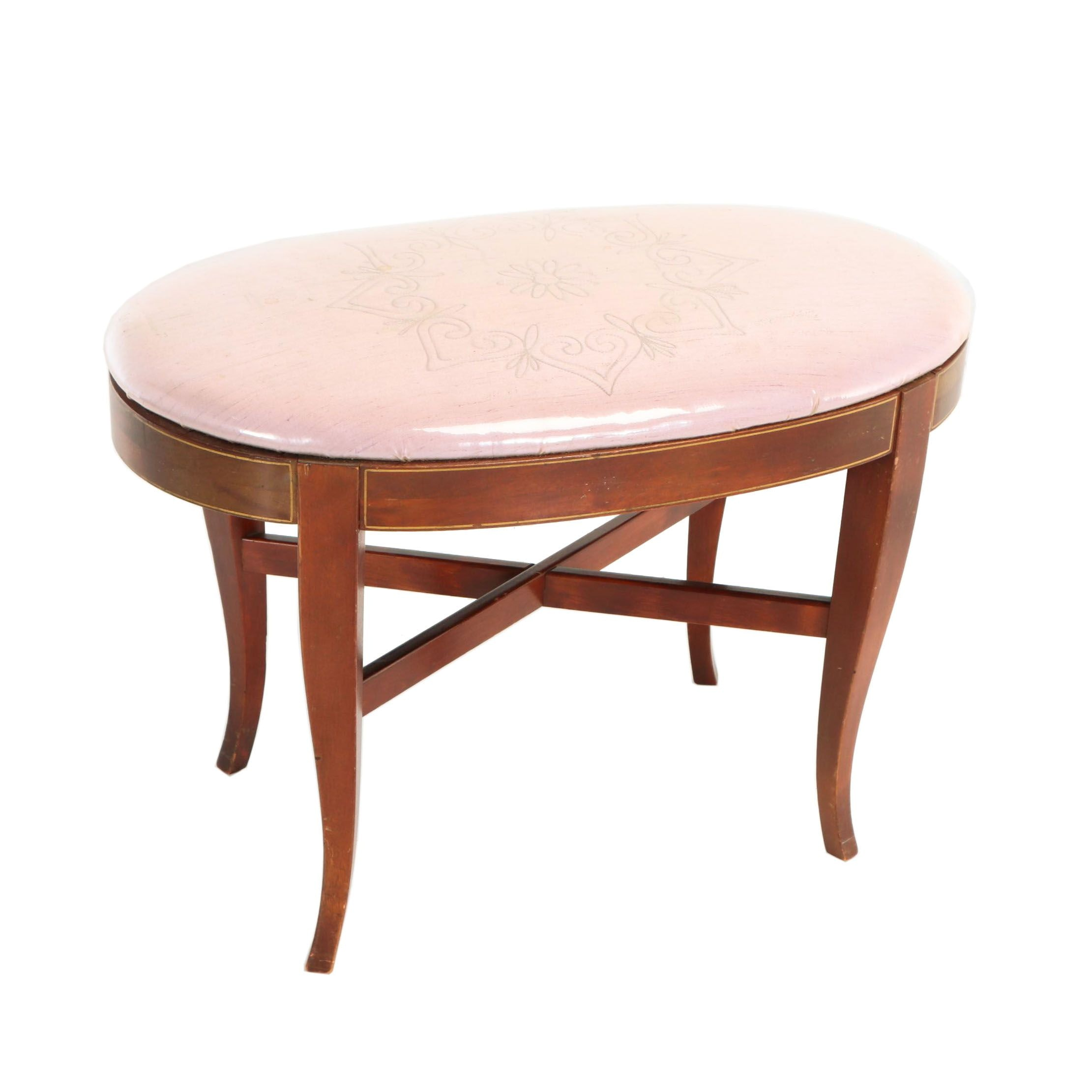 Mahogany-Stained and Paint-Decorated Stool, 20th Century