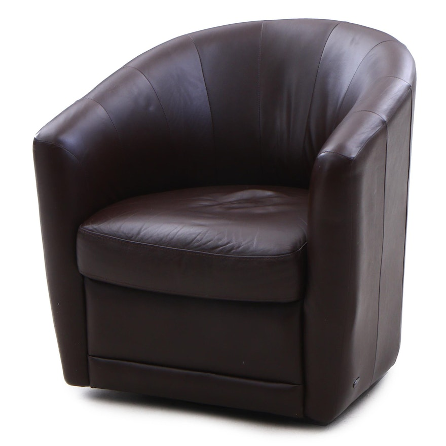 Excellent Natuzzi Mazaro Leather Swivelling Barrel Chair Contemporary Squirreltailoven Fun Painted Chair Ideas Images Squirreltailovenorg