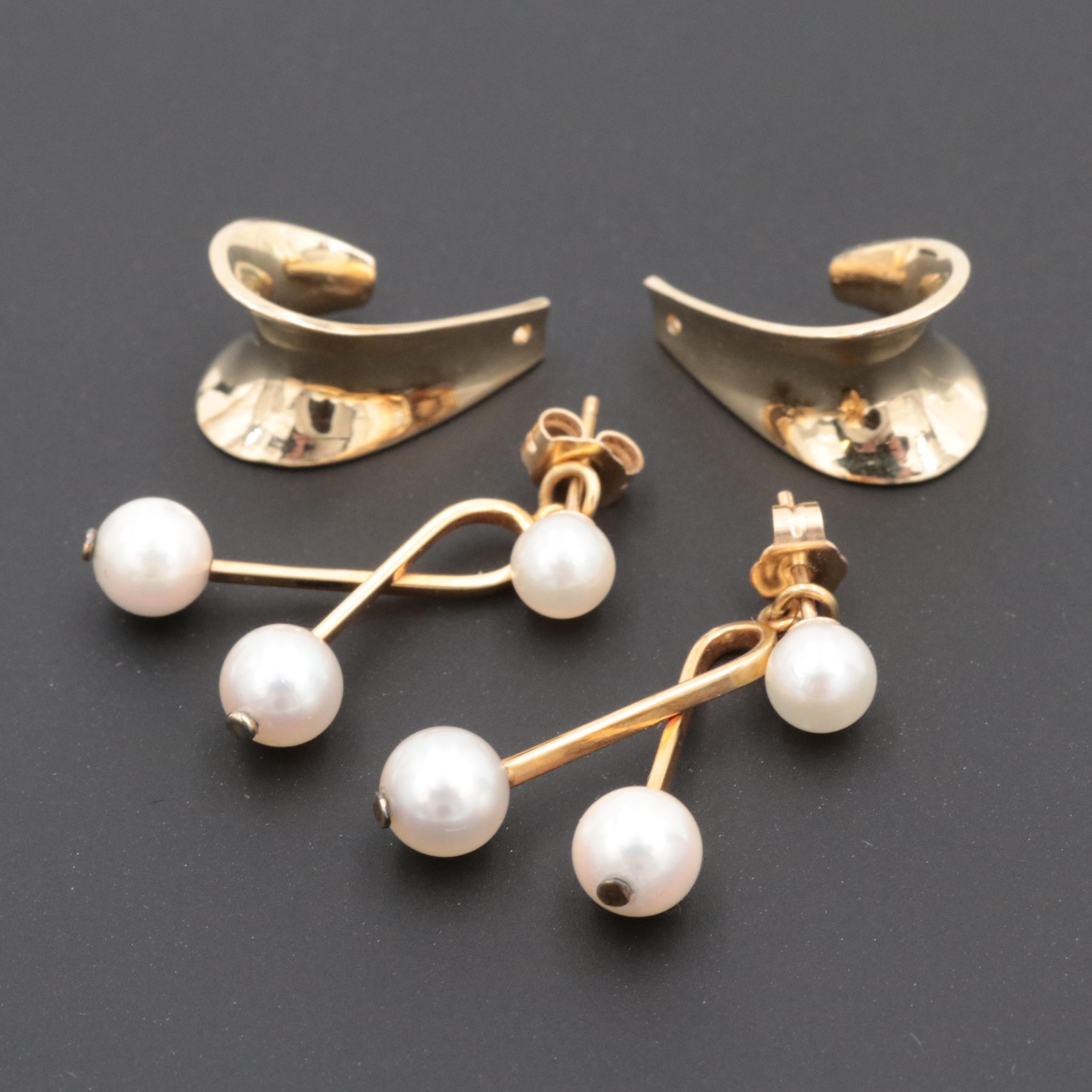 14K Yellow Gold Earring Jackets and Cultured Pearl Earrings