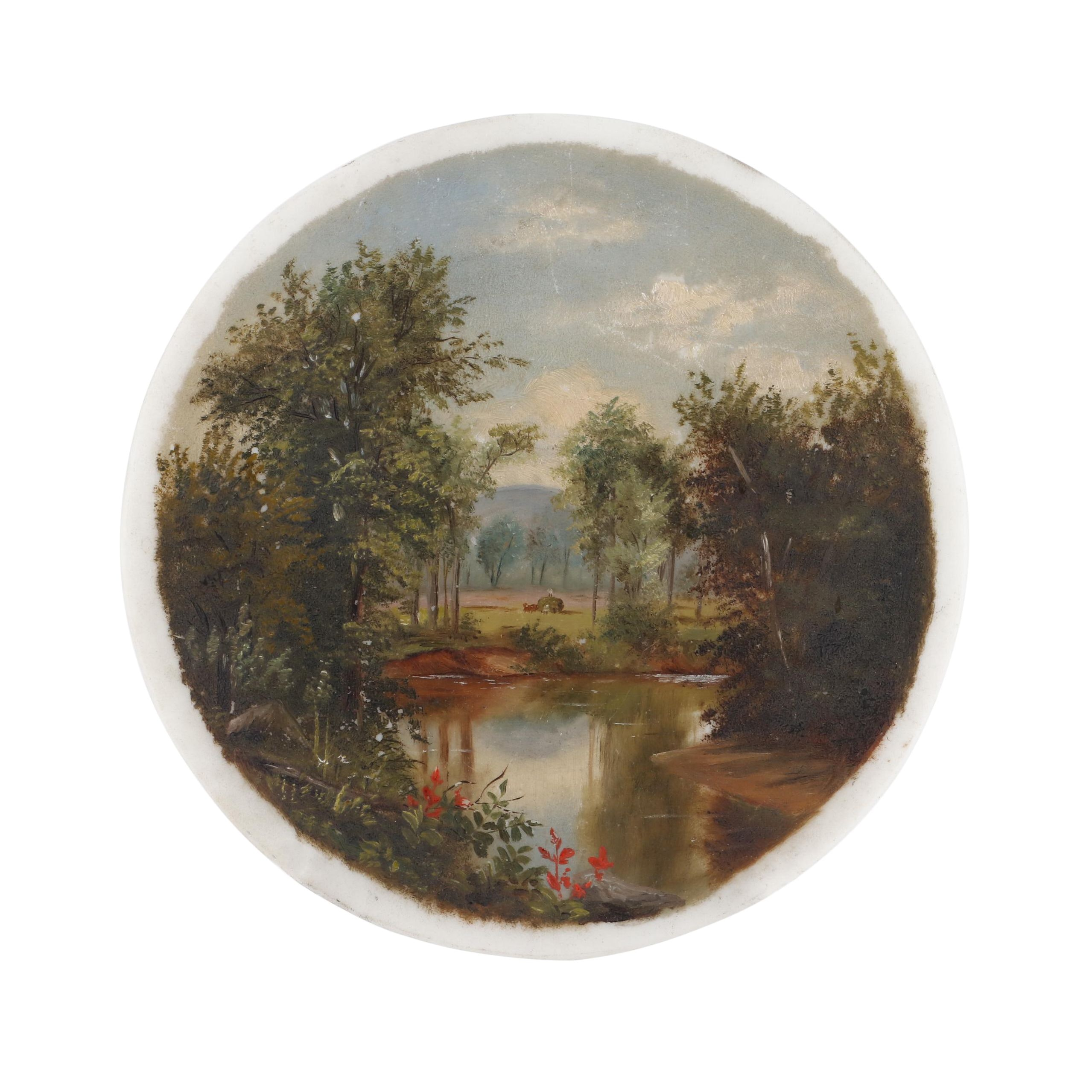 19th Century Landscape Oil Painting on Porcelain
