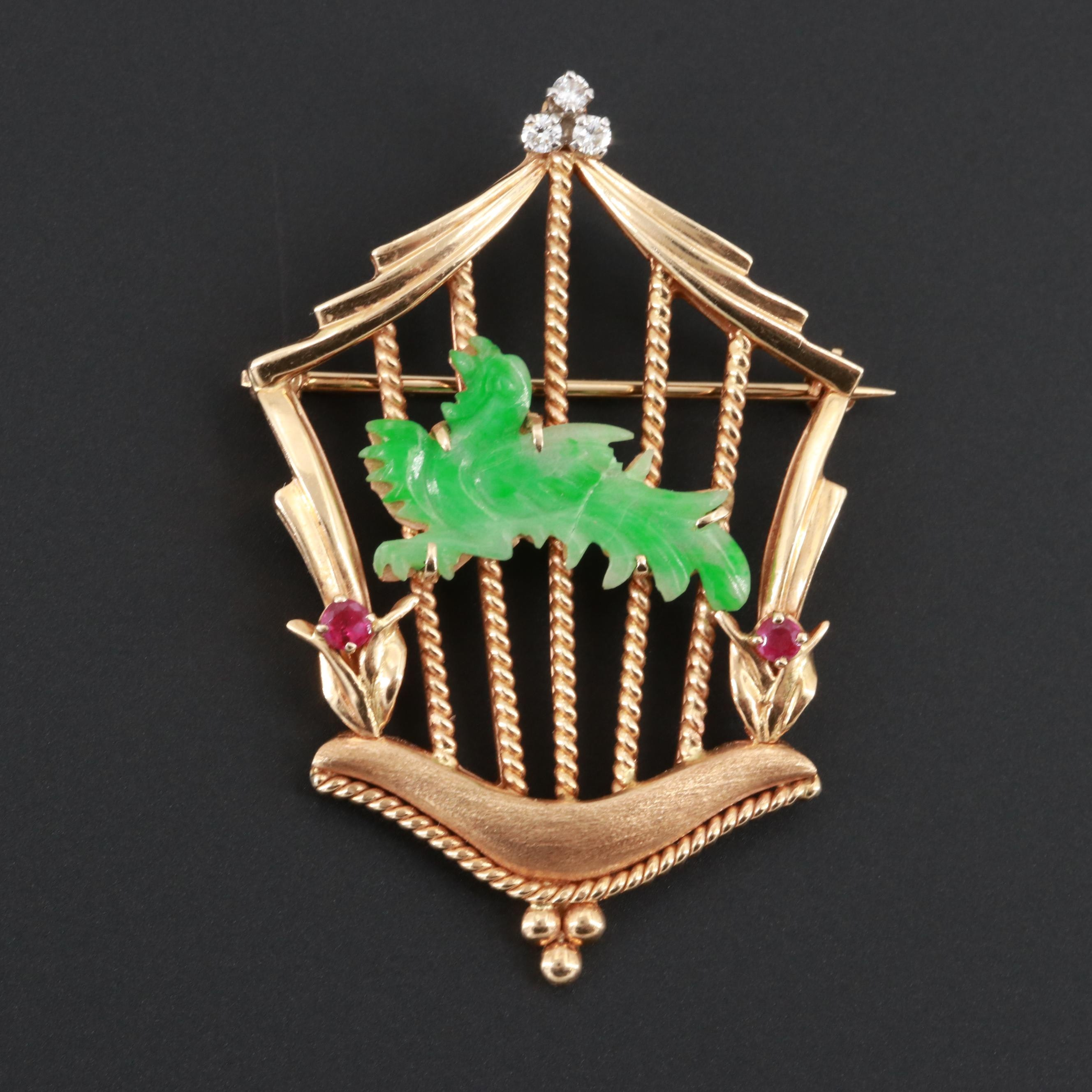 Vintage 14K Yellow Gold Jadeite, Ruby and Diamond Bird in Cage Brooch
