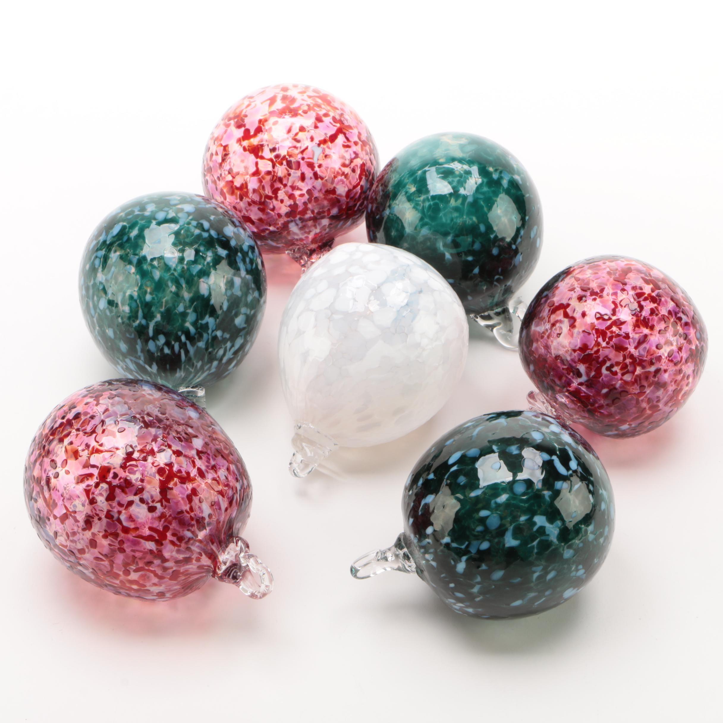 Mottled Art Glass Ornaments
