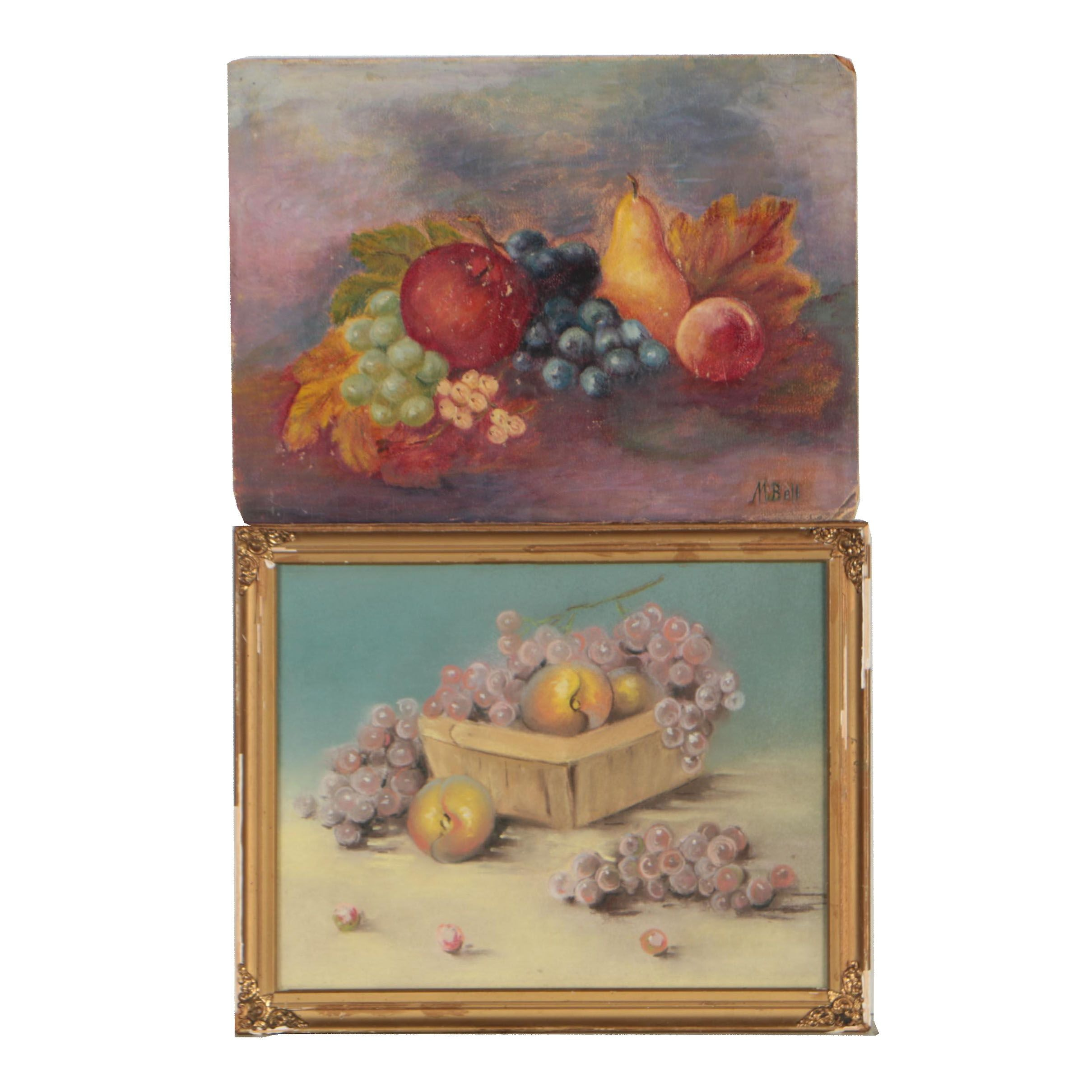 Early 20th Century Oil Painting and Pastel Still Life Drawing