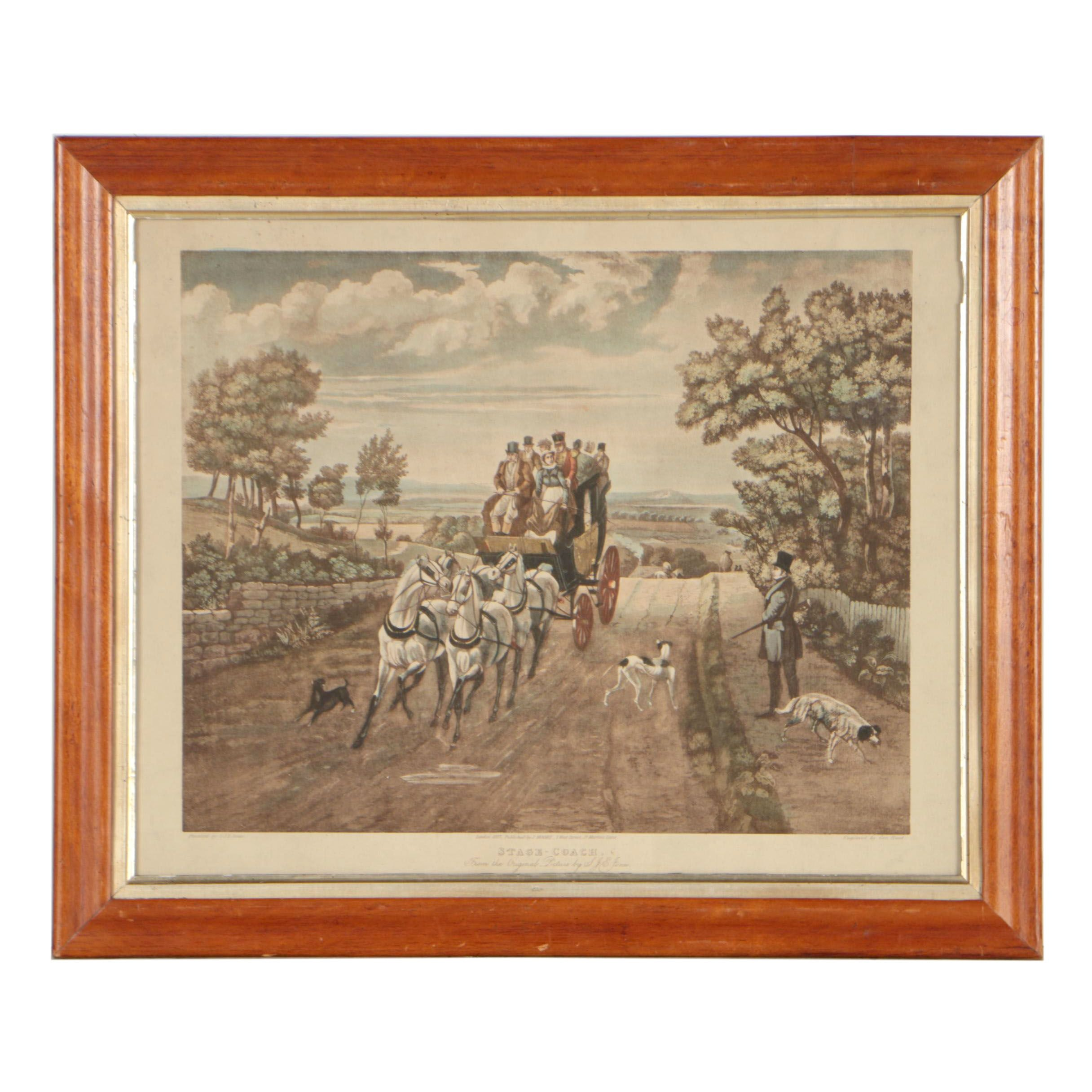 """Early 20th Century Hand-Colored Metzograph after George Hunt """"Stage - Coach"""""""