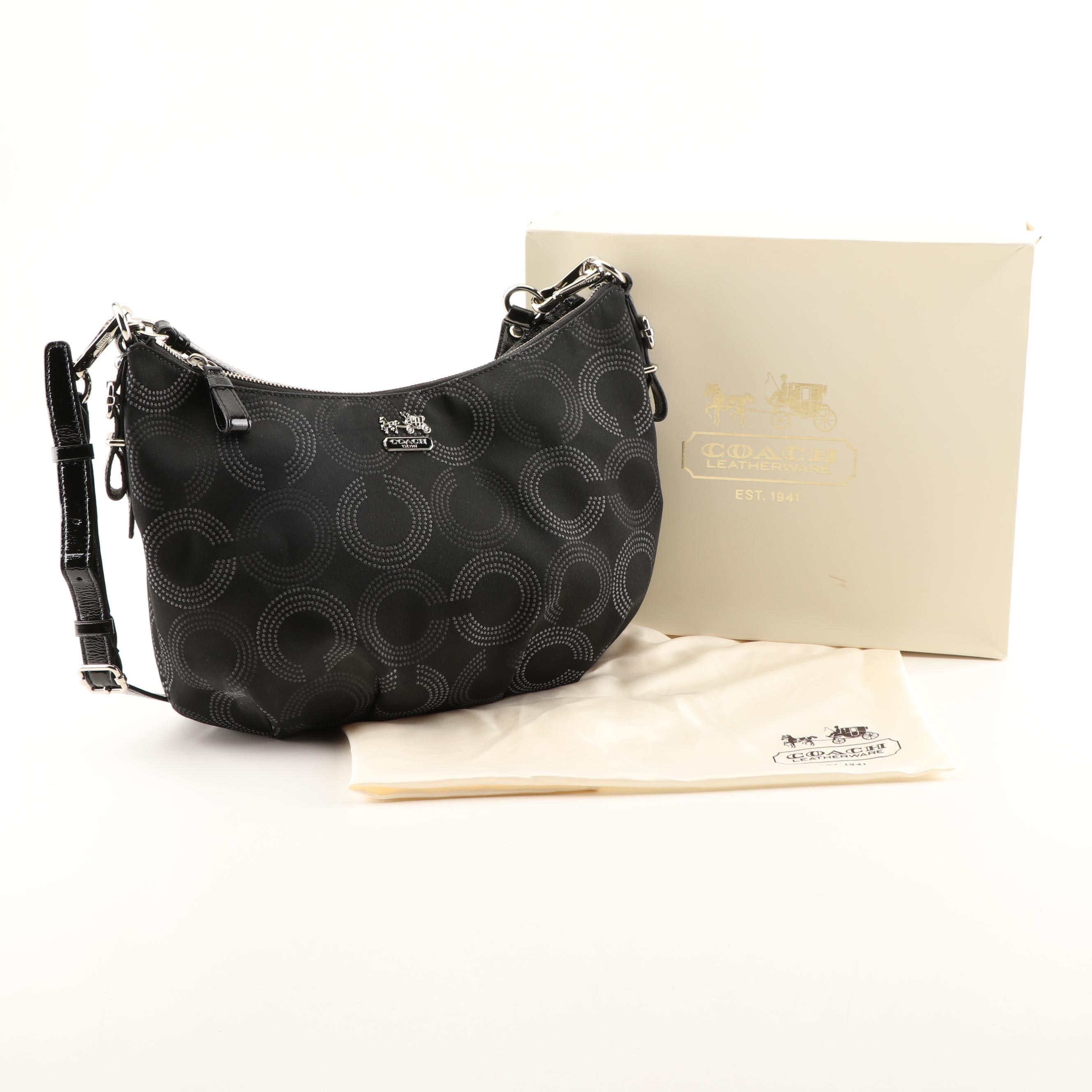 Coach Madison Dotted Op Art Convertible Hobo Bag in Black