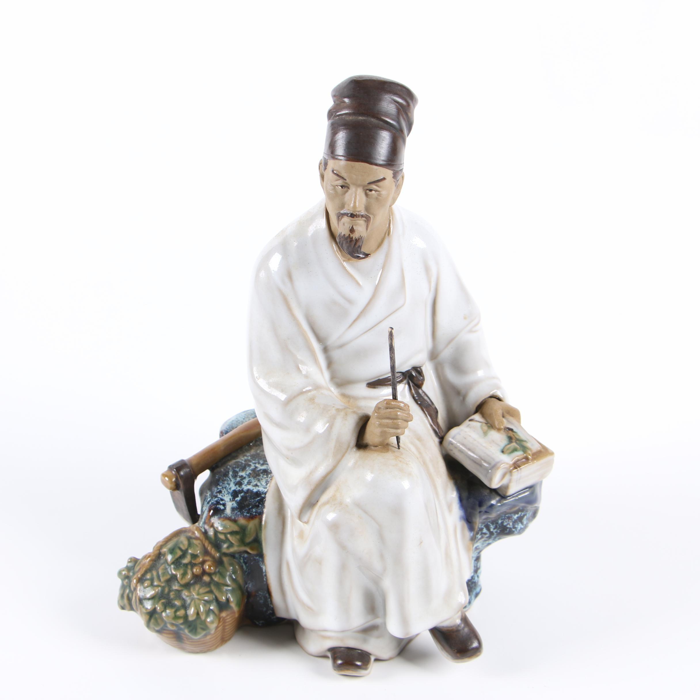 Contemporary Chinese Ceramic Scholar Figurine