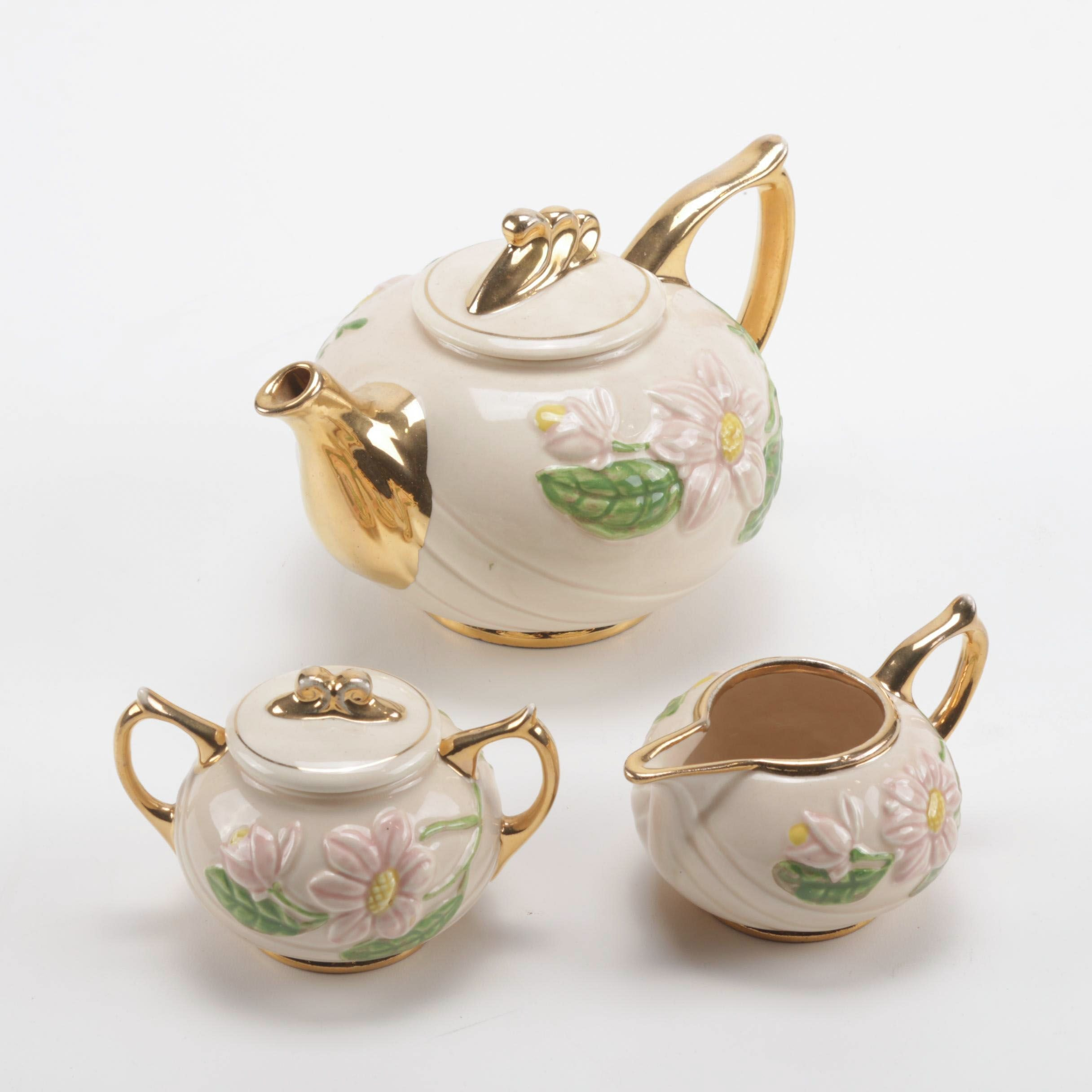 "Hull Art Pottery Pink ""Magnolia Glossy"" Tea Set with Gilt Highlights"